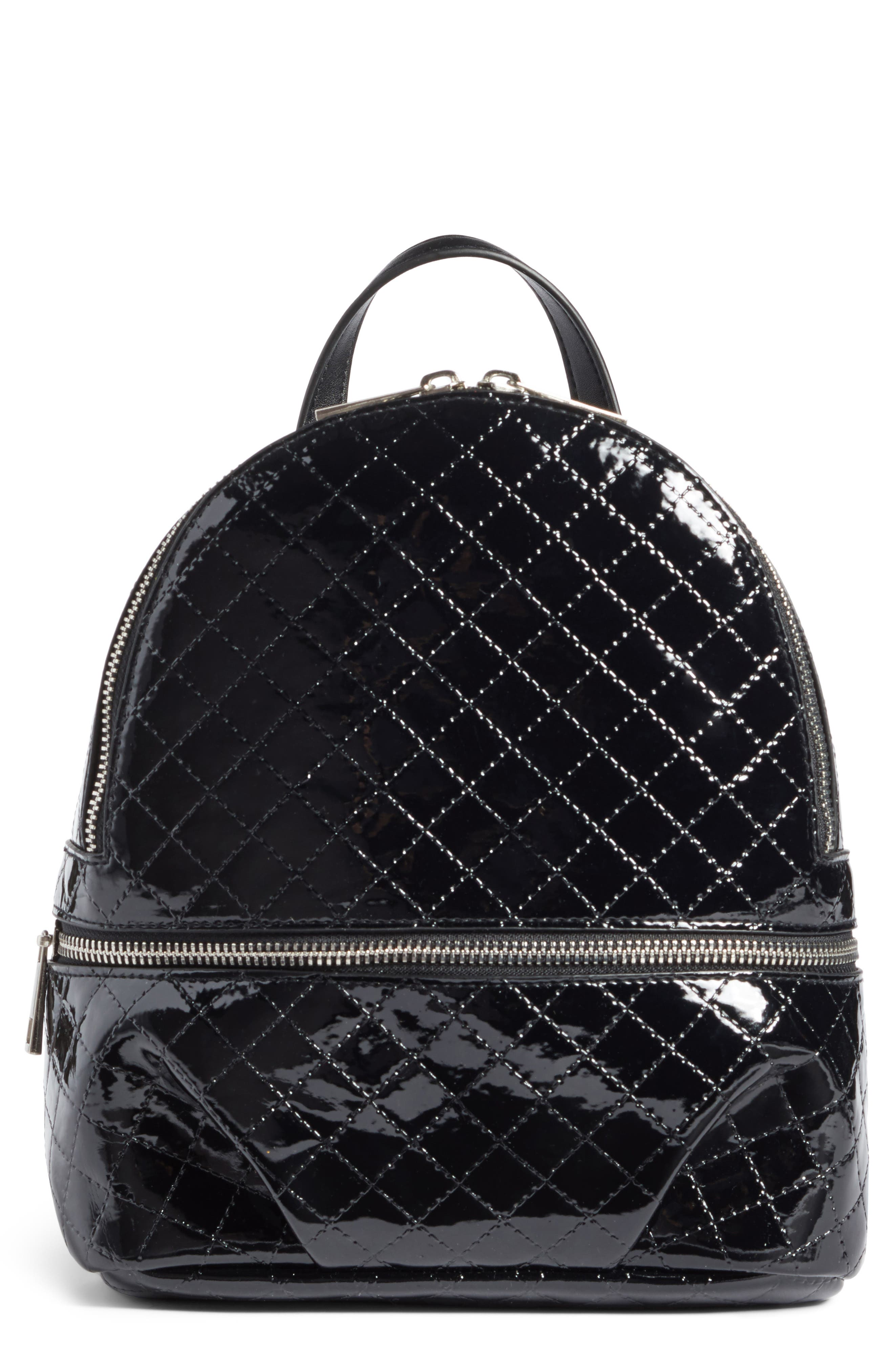 Quilted Faux Patent Backpack,                         Main,                         color, 001