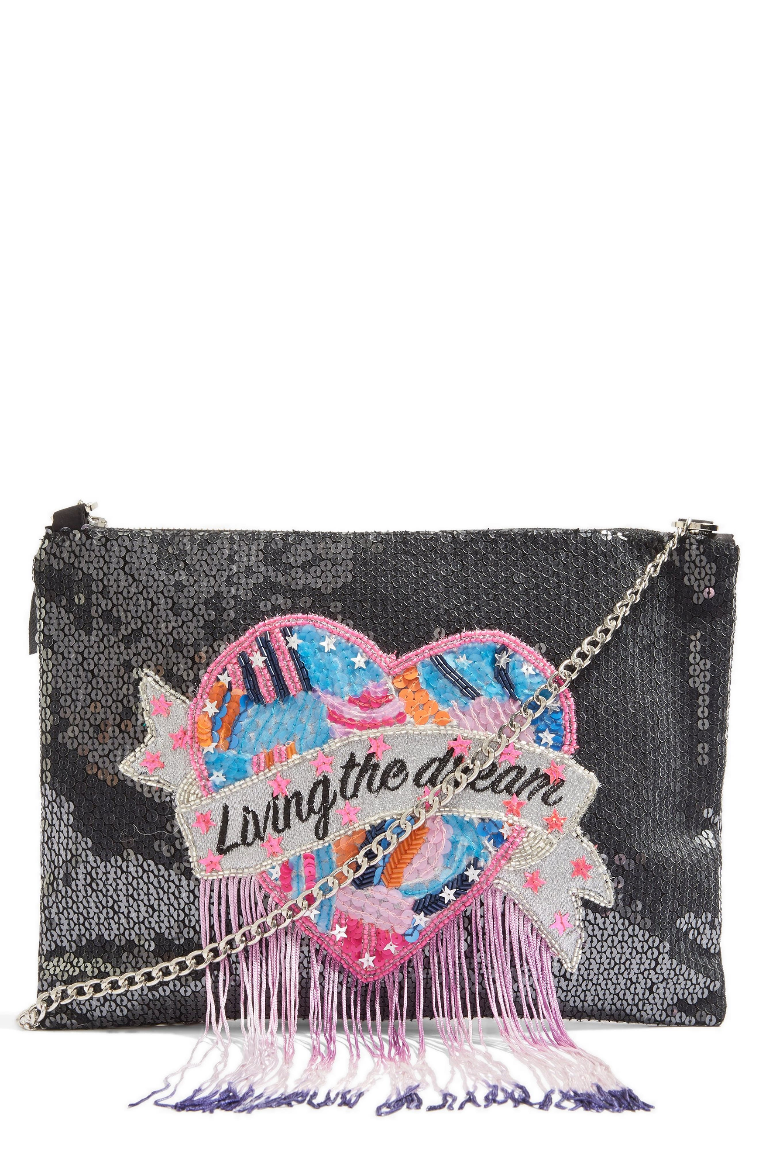 Living The Dream Crossbody Bag,                             Main thumbnail 1, color,                             BLACK MULTI