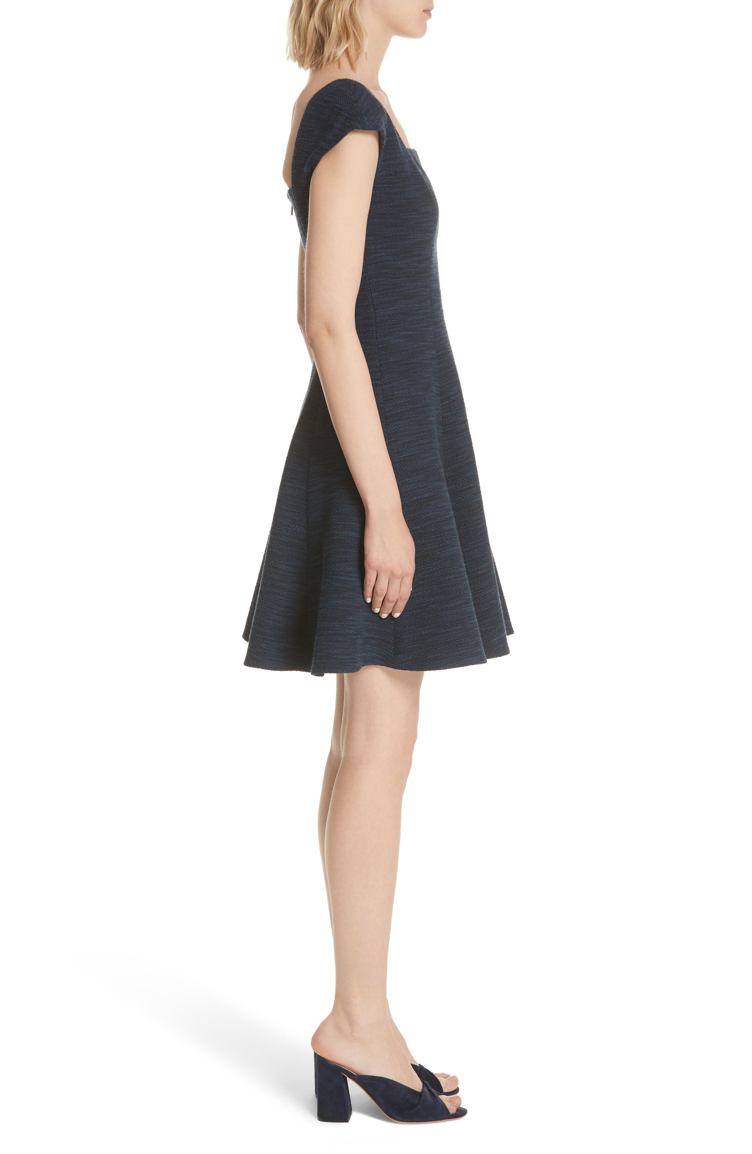 Tweed Fit & Flare Dress,                             Alternate thumbnail 3, color,