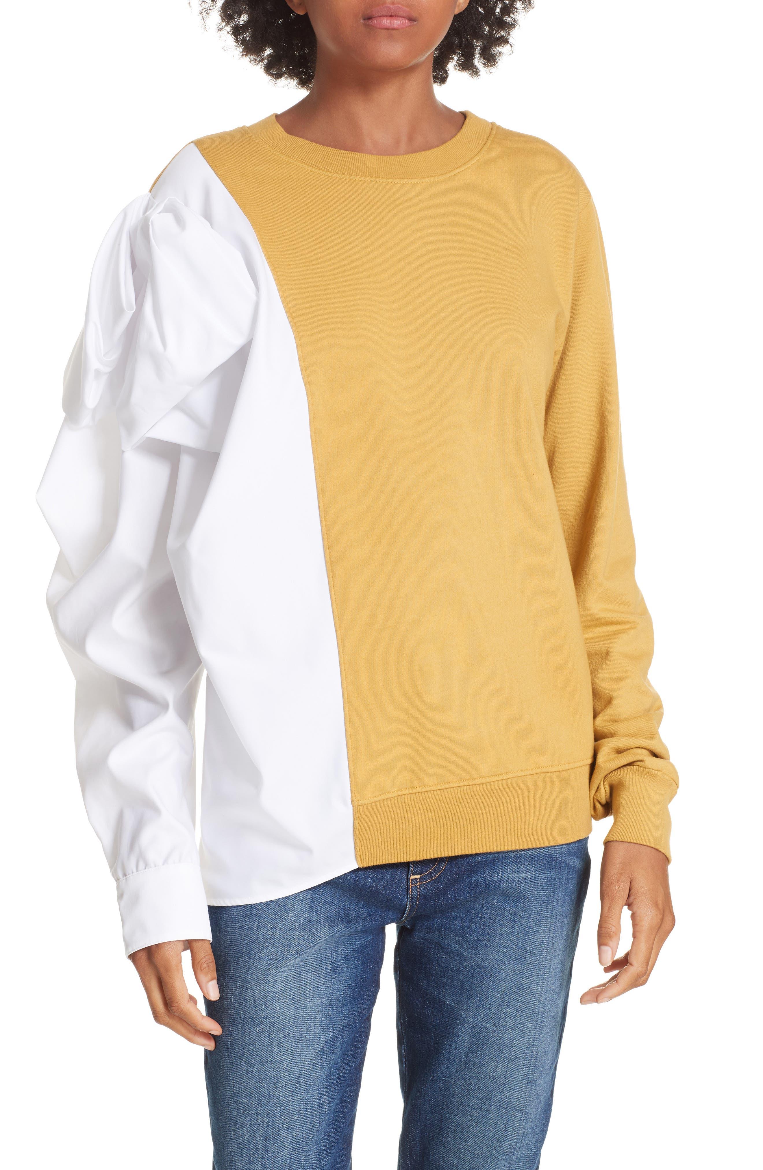 Bow Colorblock Sweatshirt,                             Main thumbnail 1, color,                             MUSTARD/ WHITE