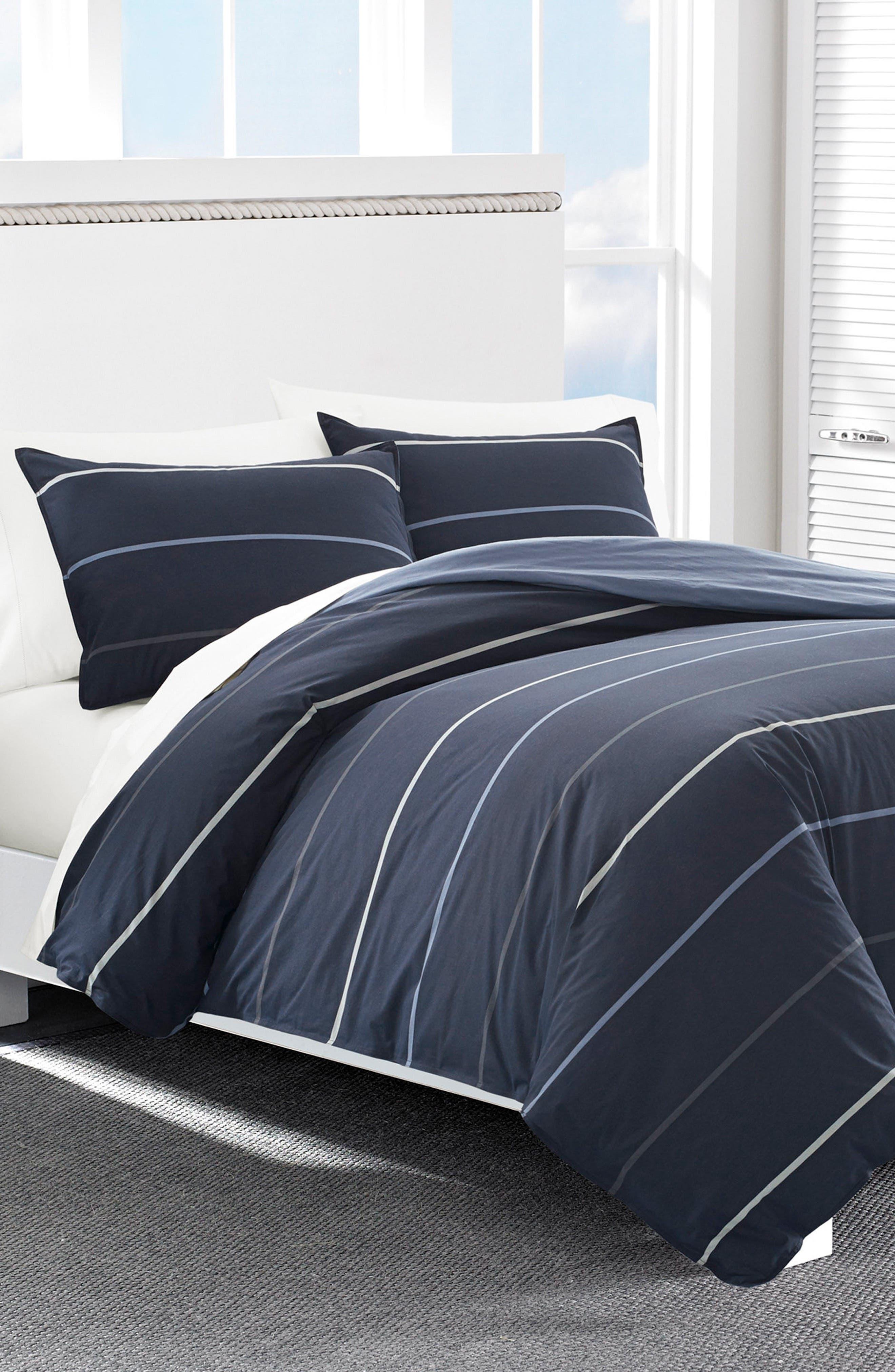 Southport Comforter & Sham Set,                         Main,                         color, NAVY