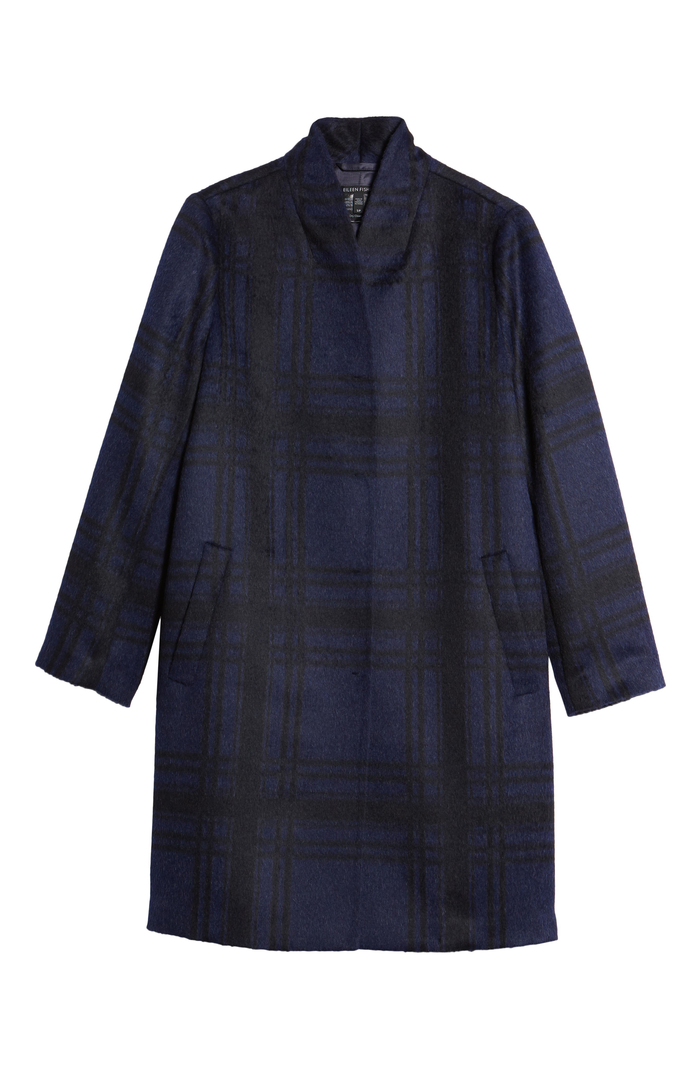 Plaid Alpaca Blend Coat,                             Alternate thumbnail 5, color,                             419