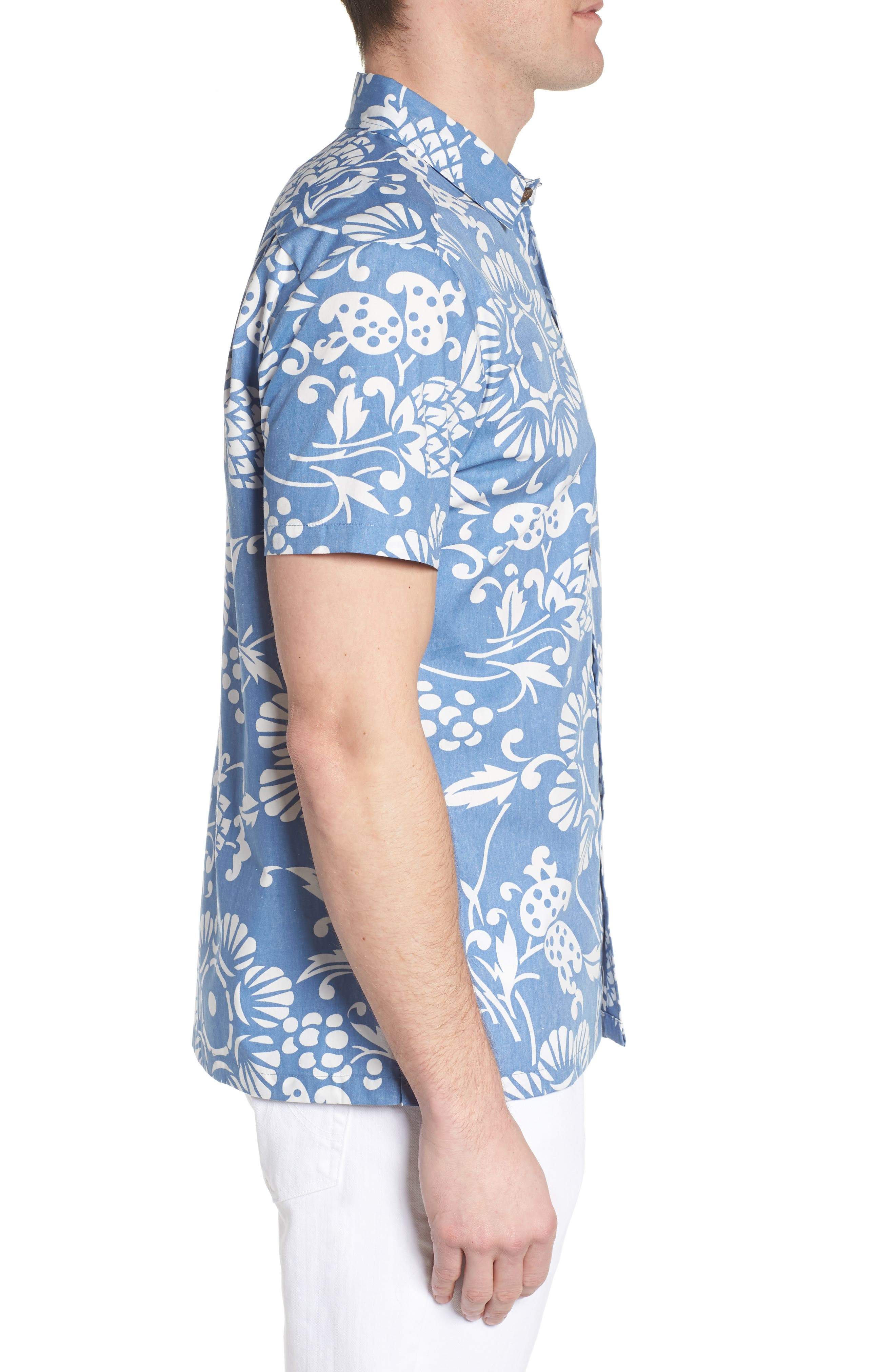 Duke's Pareo Trim Fit Sport Shirt,                             Alternate thumbnail 3, color,                             WAVE