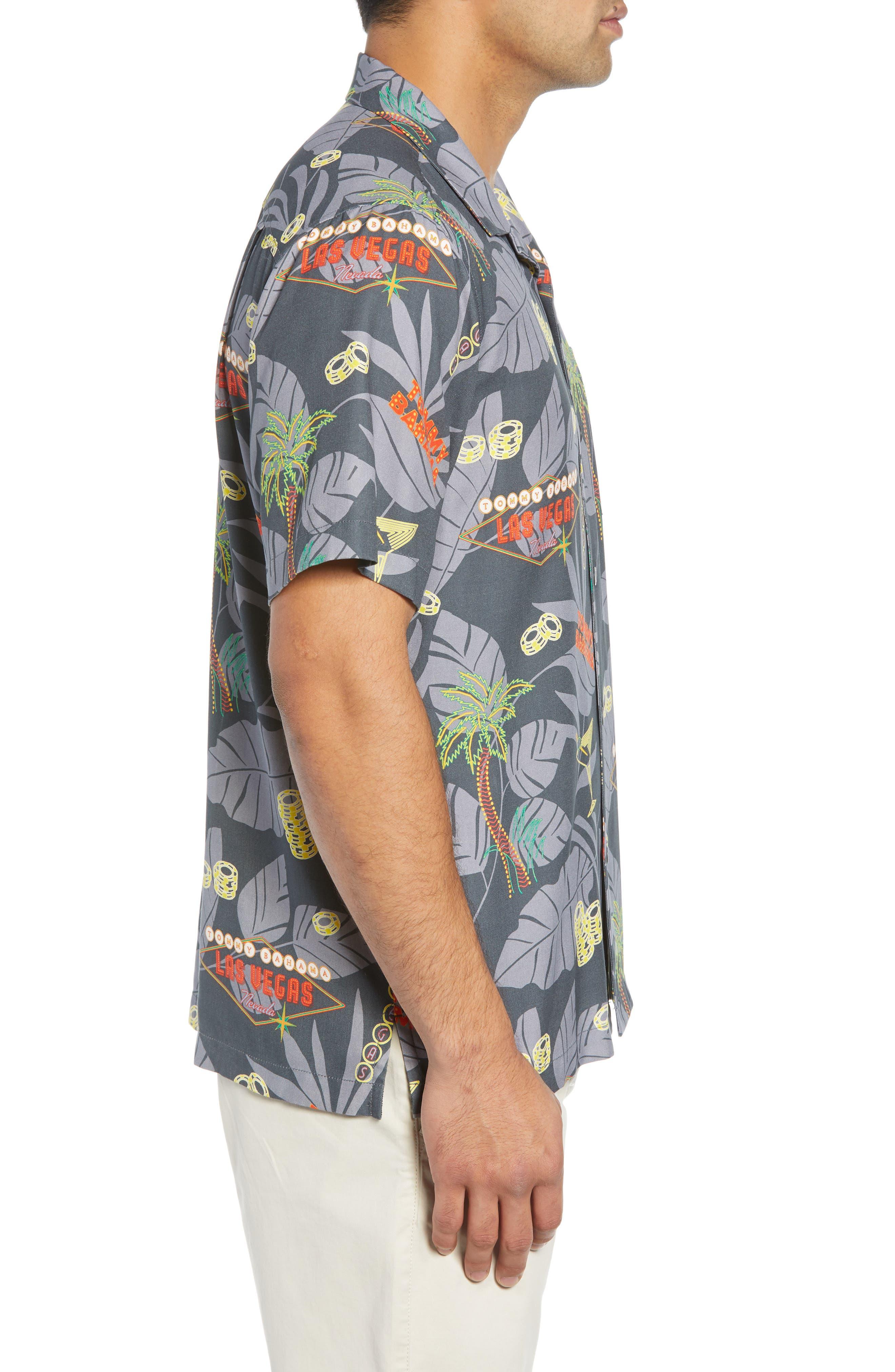 TOMMY BAHAMA,                             Poker in Paradise Silk Camp Shirt,                             Alternate thumbnail 3, color,                             001