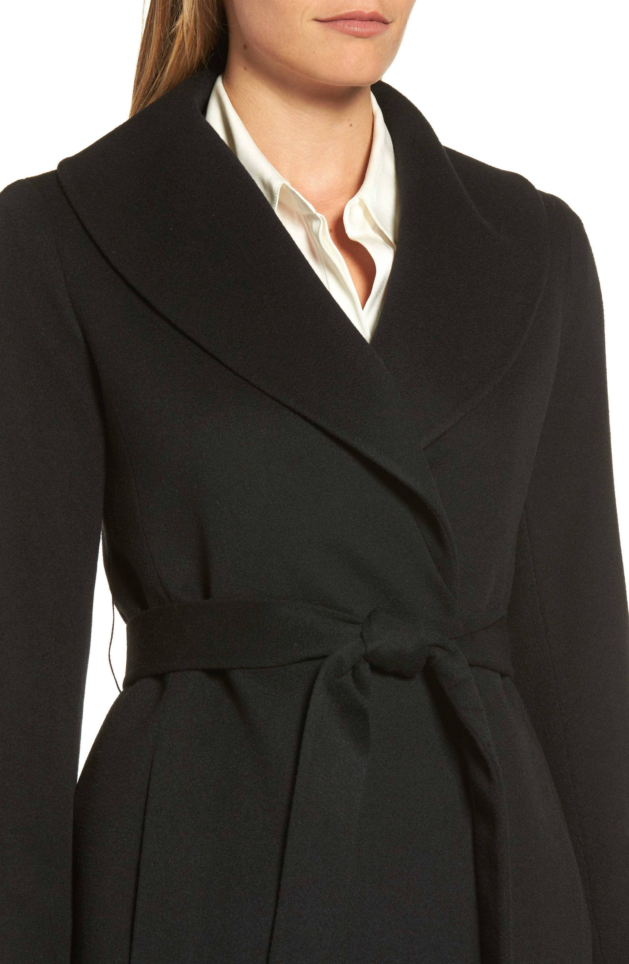 Shawl Collar Cashmere Wrap Coat,                             Alternate thumbnail 4, color,                             001