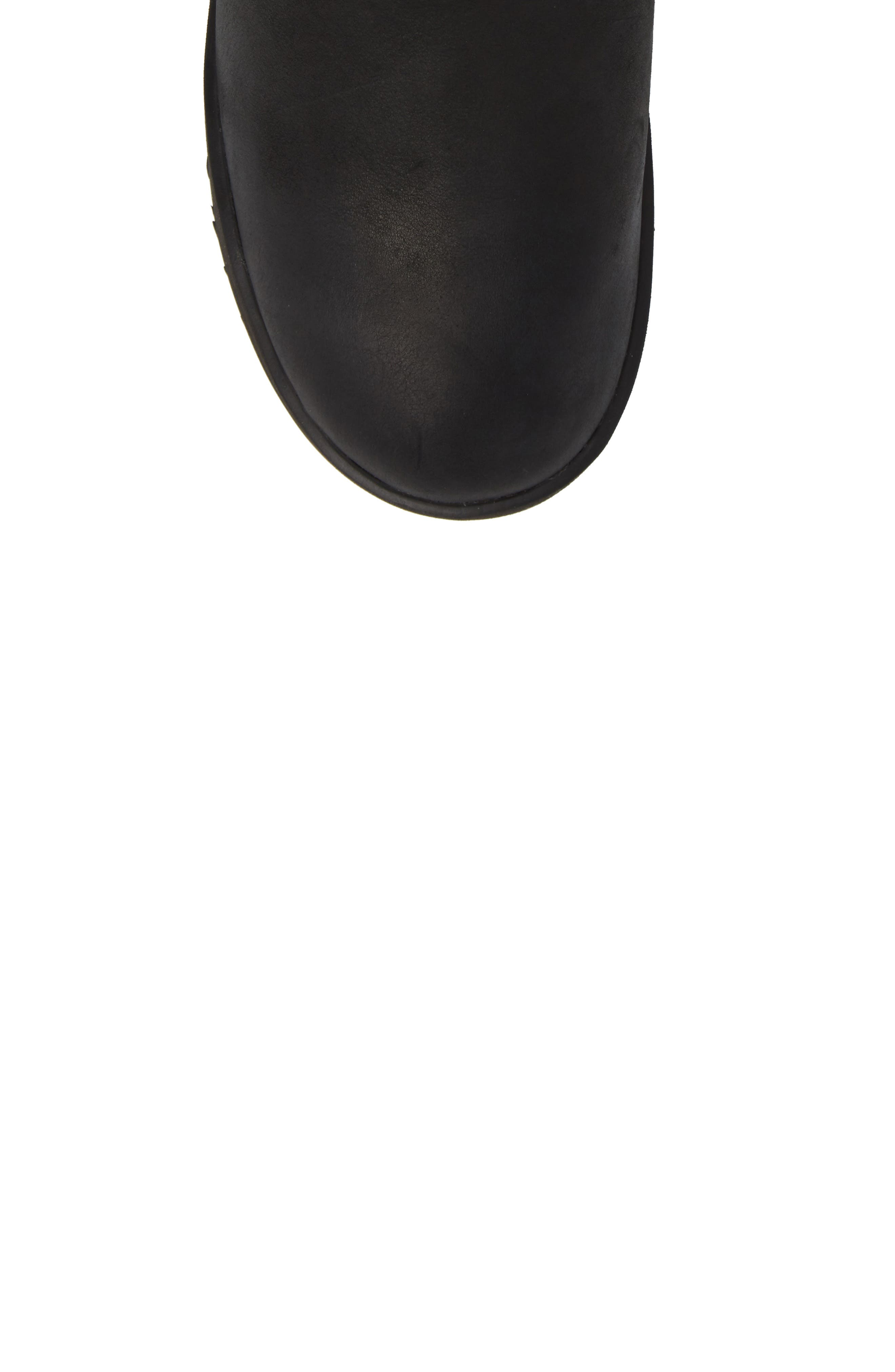UGG<SUP>®</SUP>,                             Classic Genuine Shearling Lined Short Waterproof Boot,                             Alternate thumbnail 5, color,                             BLACK LEATHER