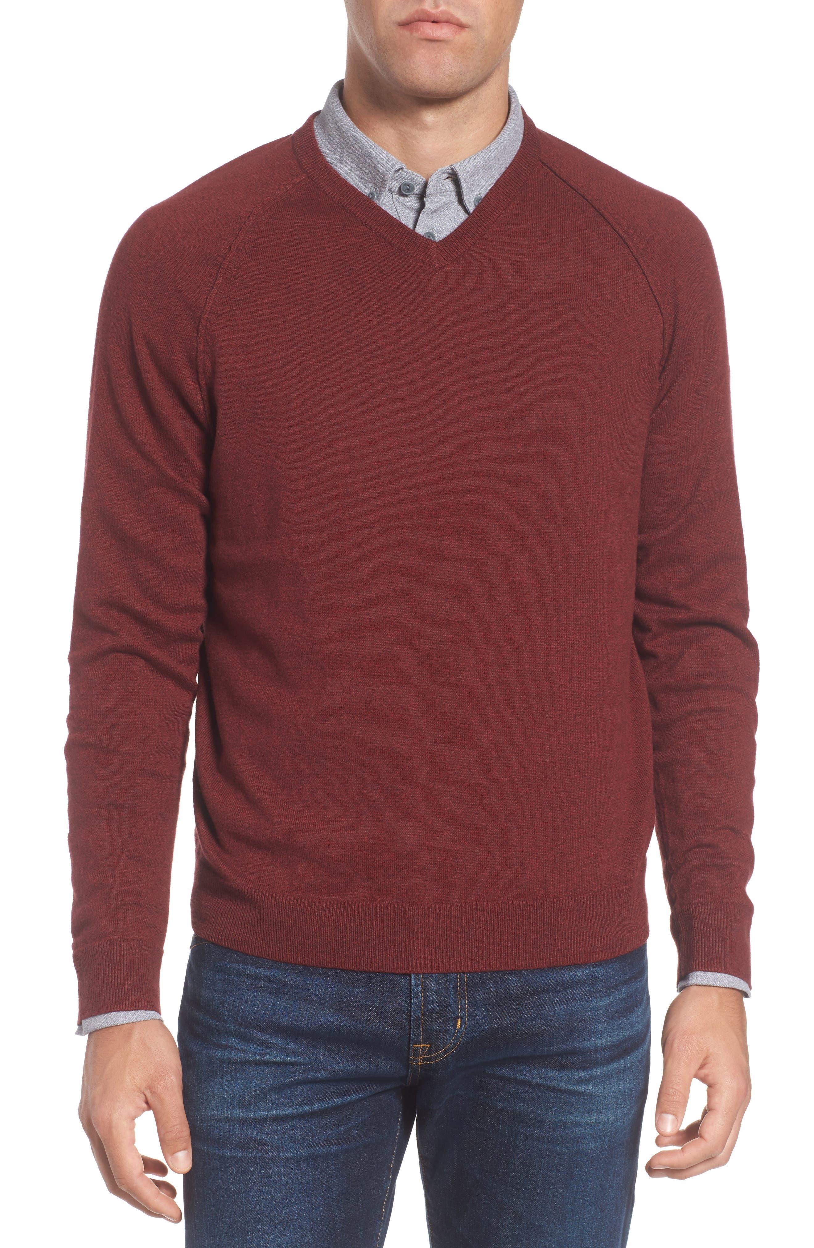Saddle Shoulder Cotton & Cashmere V-Neck Sweater,                             Main thumbnail 8, color,