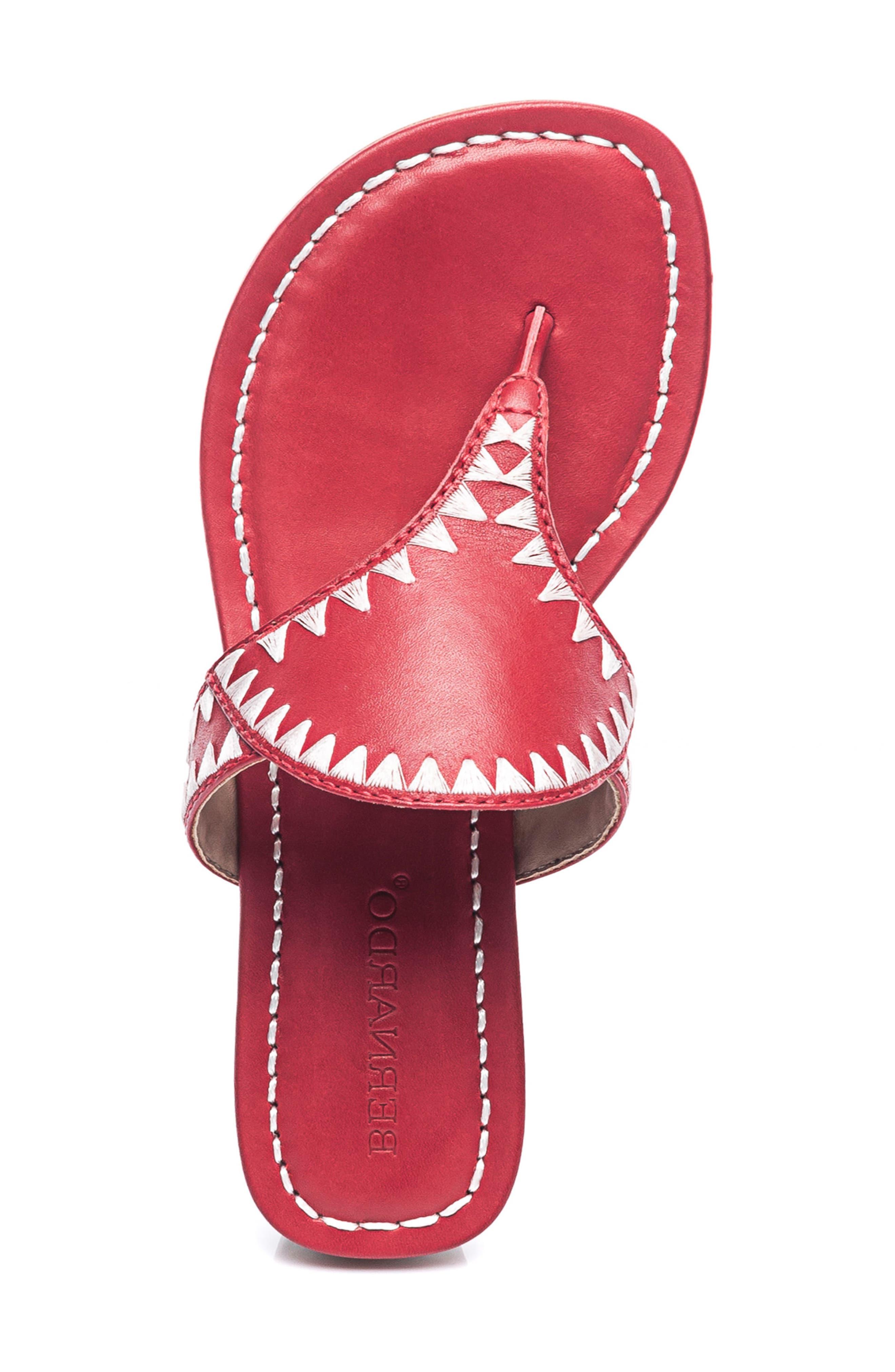 Bernardo Gabi Embroidered Sandal,                             Alternate thumbnail 5, color,                             RED LEATHER
