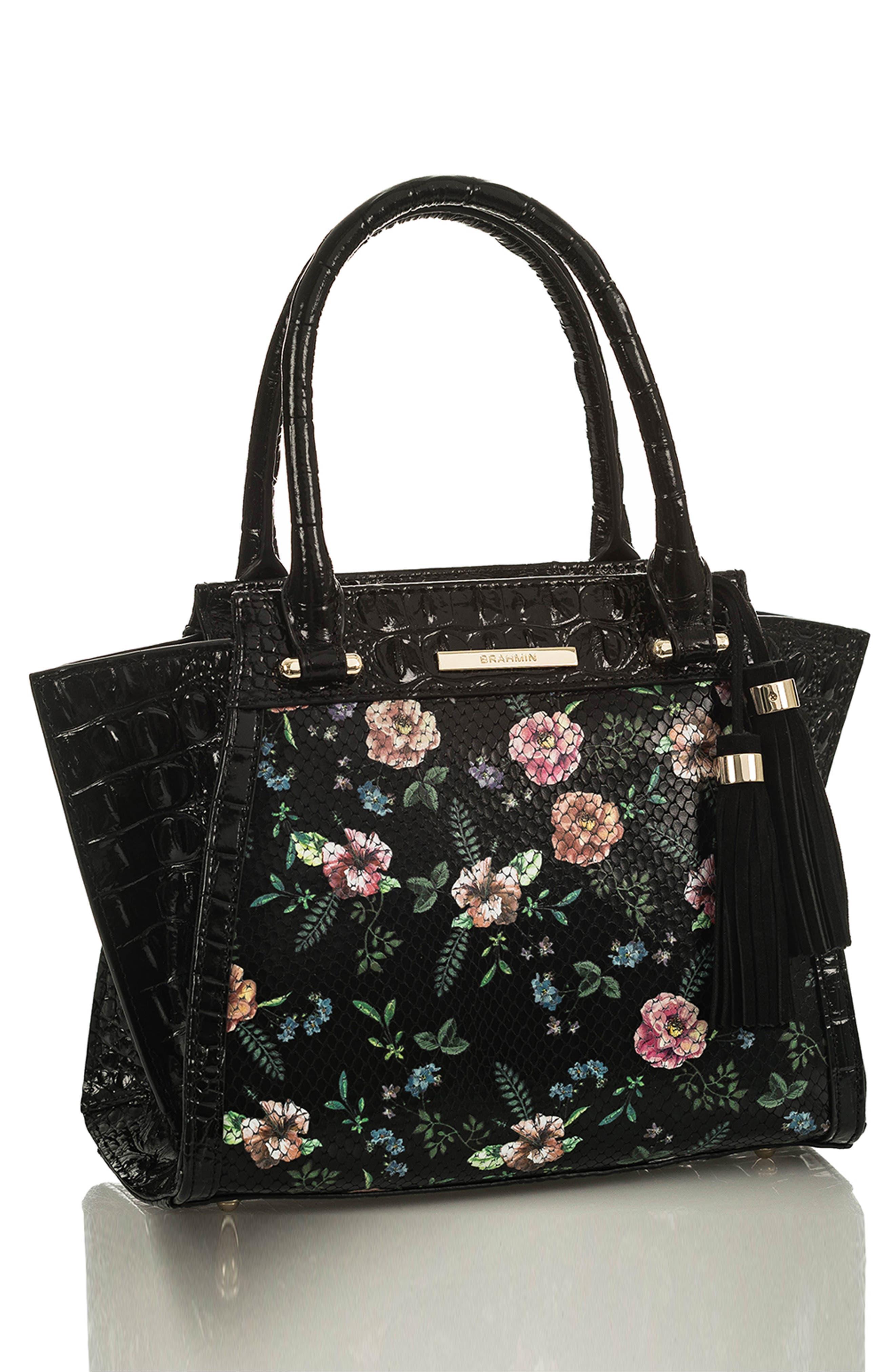 Mini Priscilla Floral Leather Satchel,                             Alternate thumbnail 4, color,                             BLACK THAMES