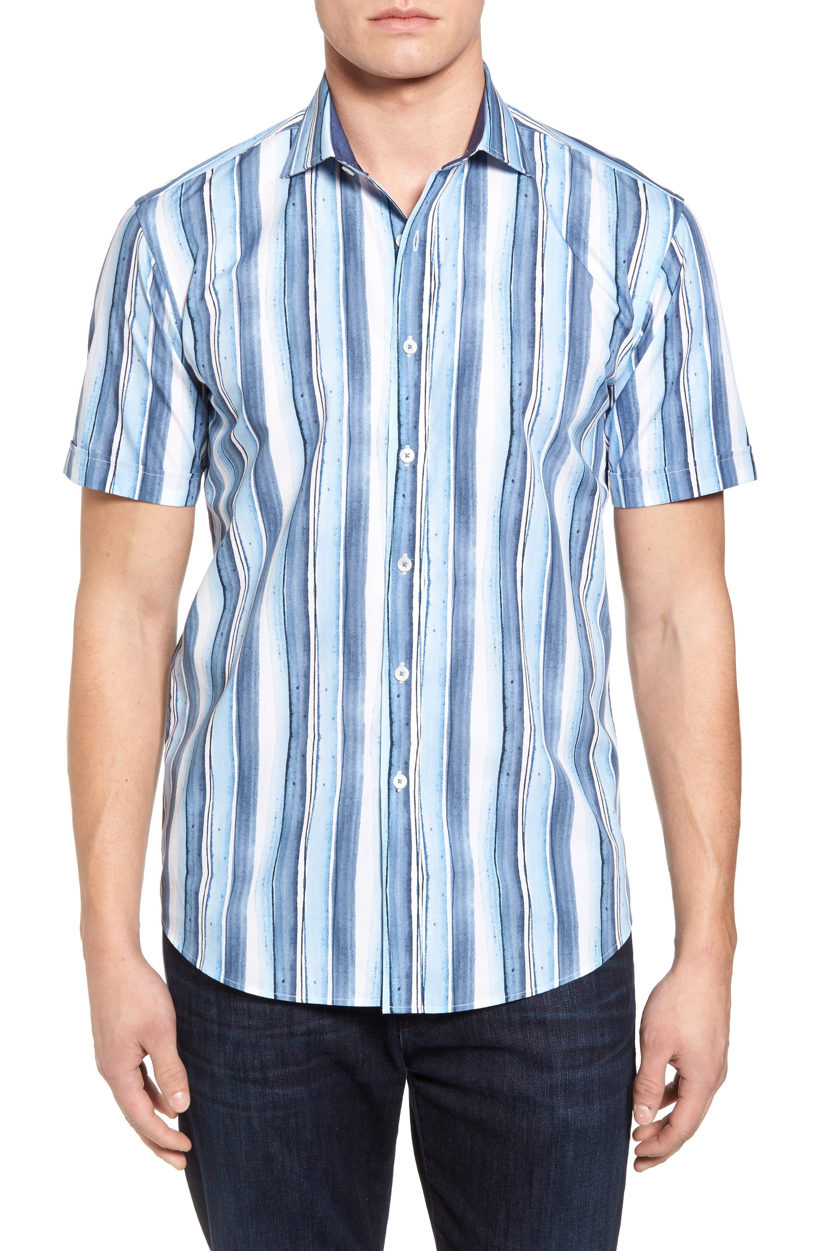 Shaped Fit Stripe Sport Shirt,                         Main,                         color, 409