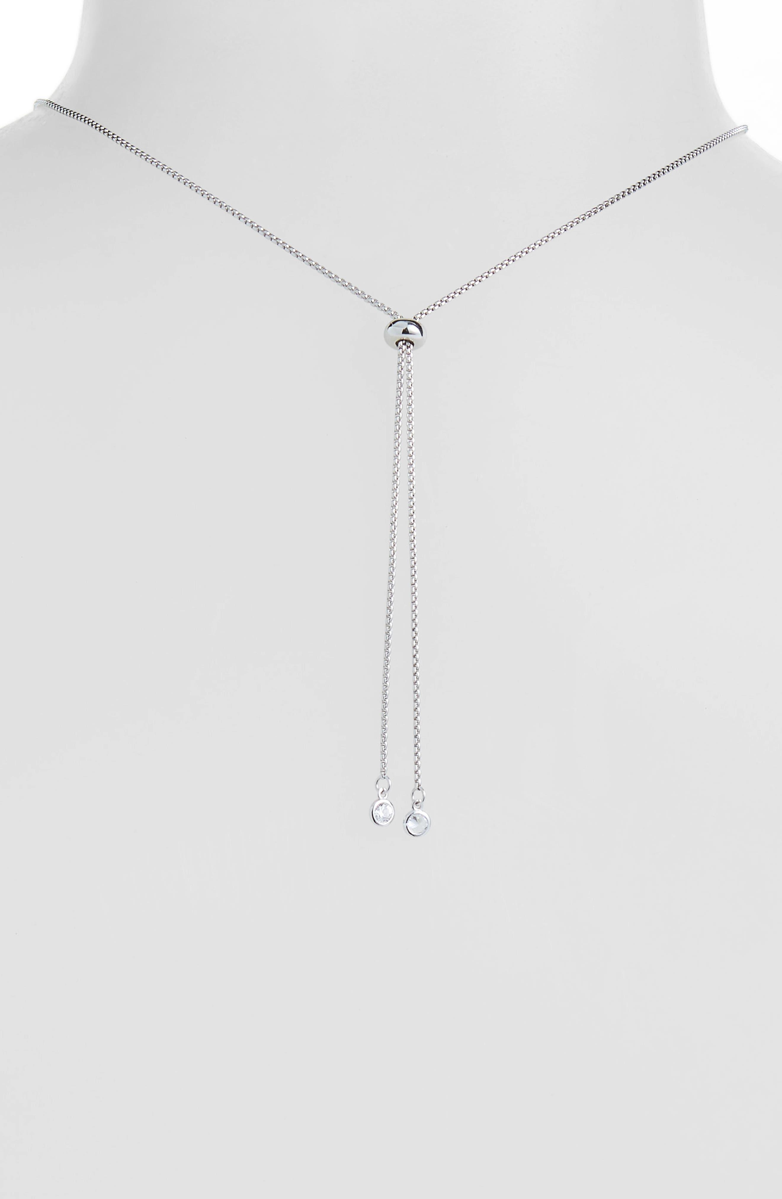 Metal Pavé Ball Adjustable Slide Necklace,                             Alternate thumbnail 3, color,                             CLEAR/ SILVER
