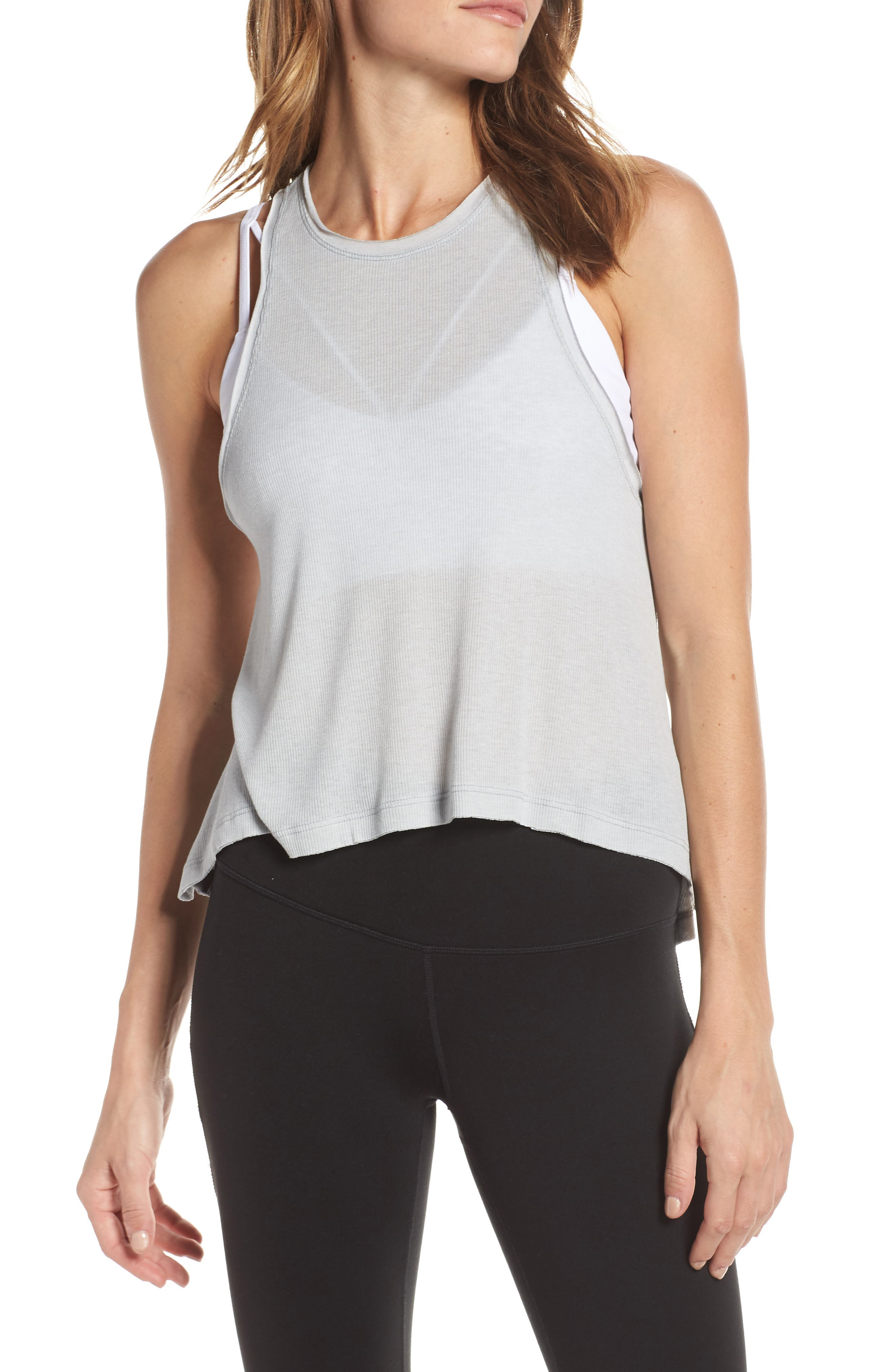 FREE PEOPLE MOVEMENT,                             Free People FP Movement The Rise & Fall Tank,                             Main thumbnail 1, color,                             GREY