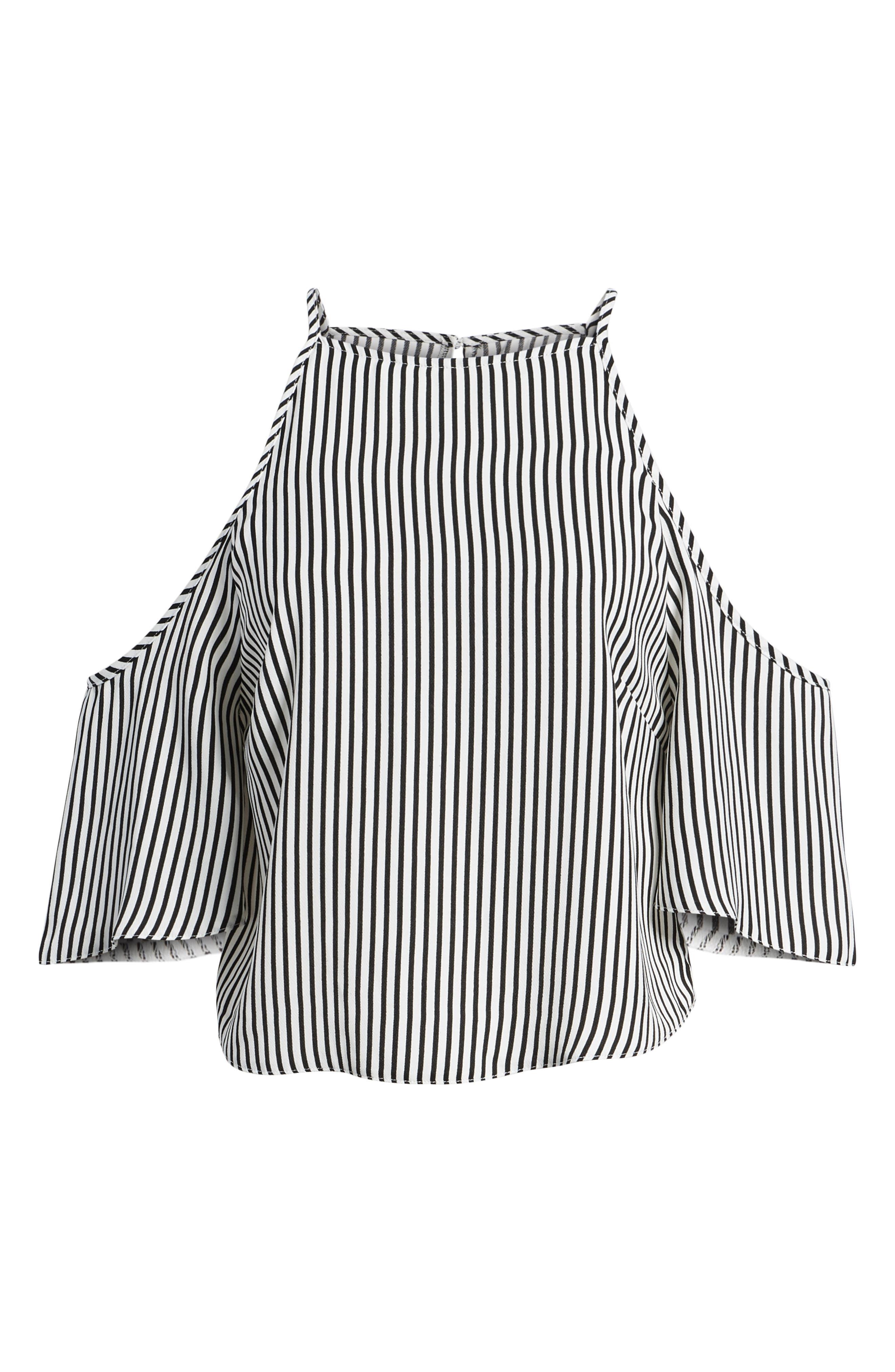Bishop + Young Ava Stripe Cold Shoulder Top,                             Alternate thumbnail 7, color,                             BLACK STRIPE