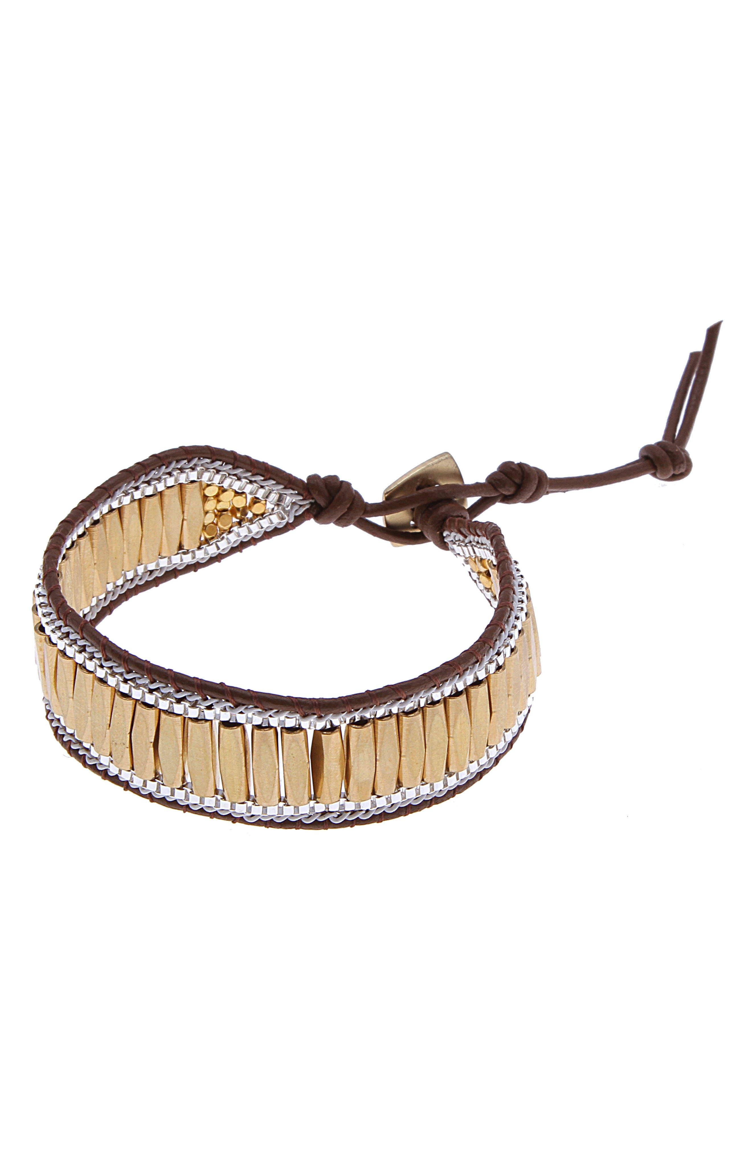 Beaded Leather Bracelet,                             Main thumbnail 2, color,