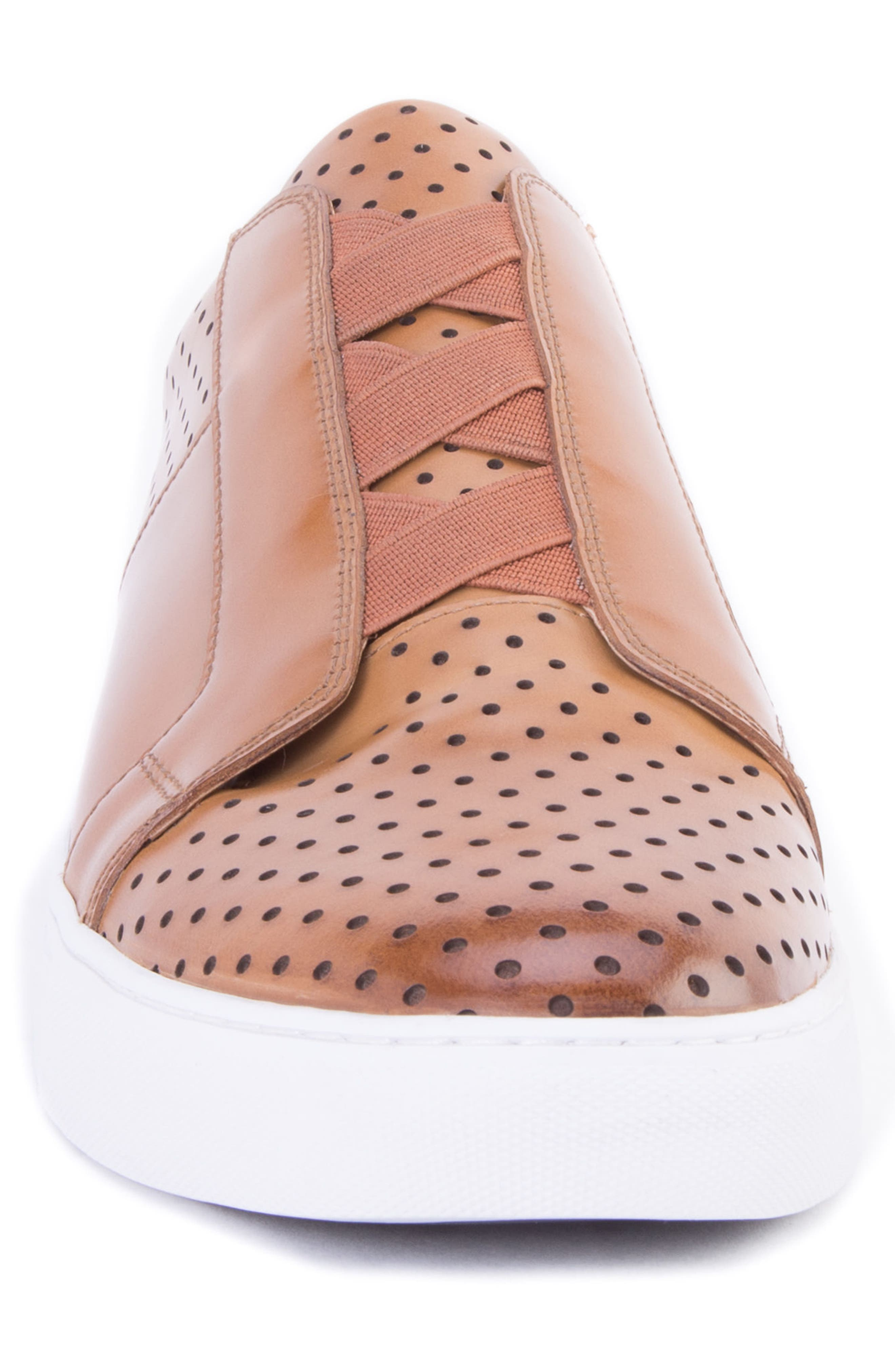 Rowley Perforated Laceless Sneaker,                             Alternate thumbnail 4, color,                             COGNAC LEATHER
