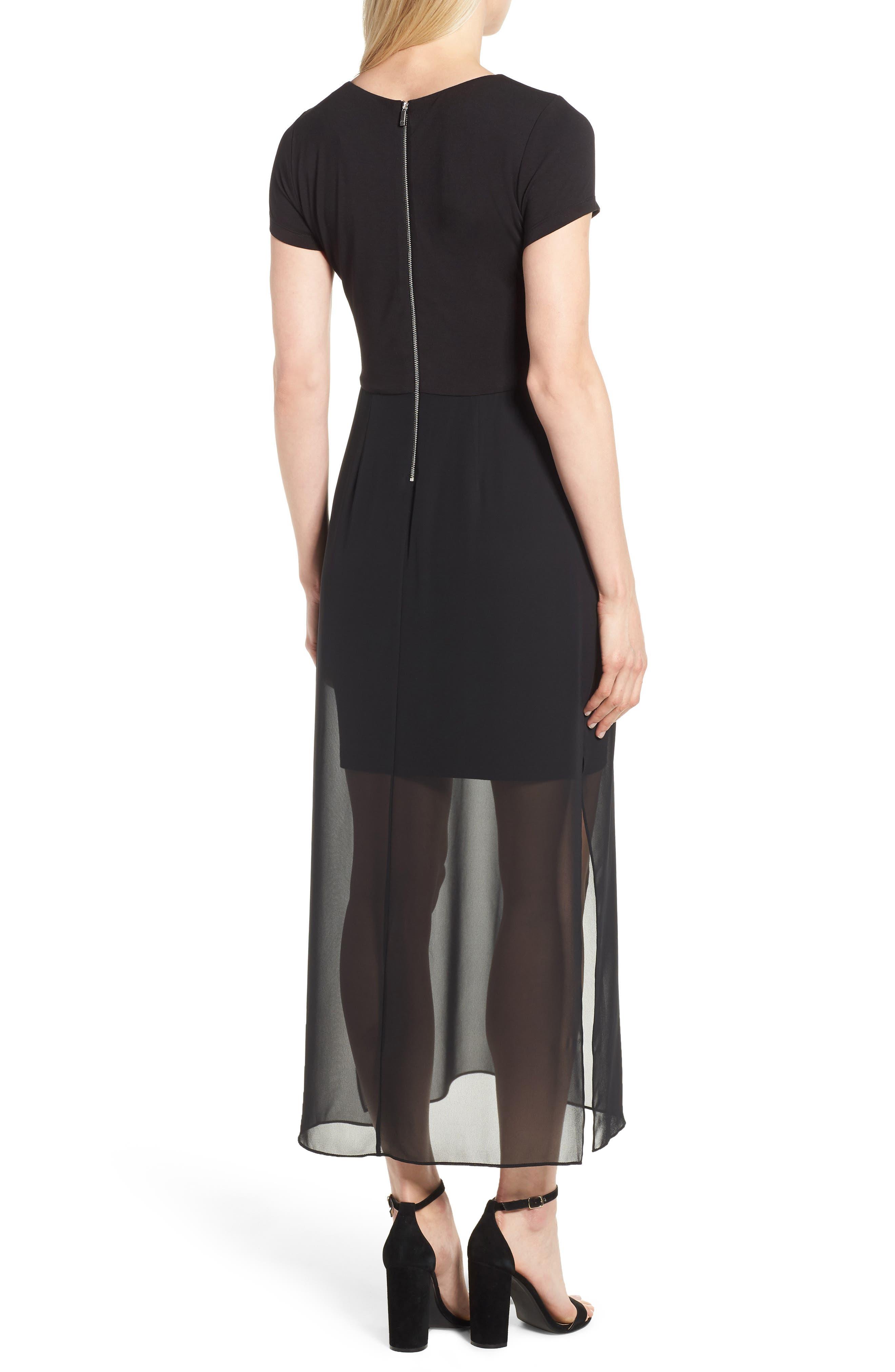 Chiffon Overlay Maxi Dress,                             Alternate thumbnail 2, color,                             RICH BLACK