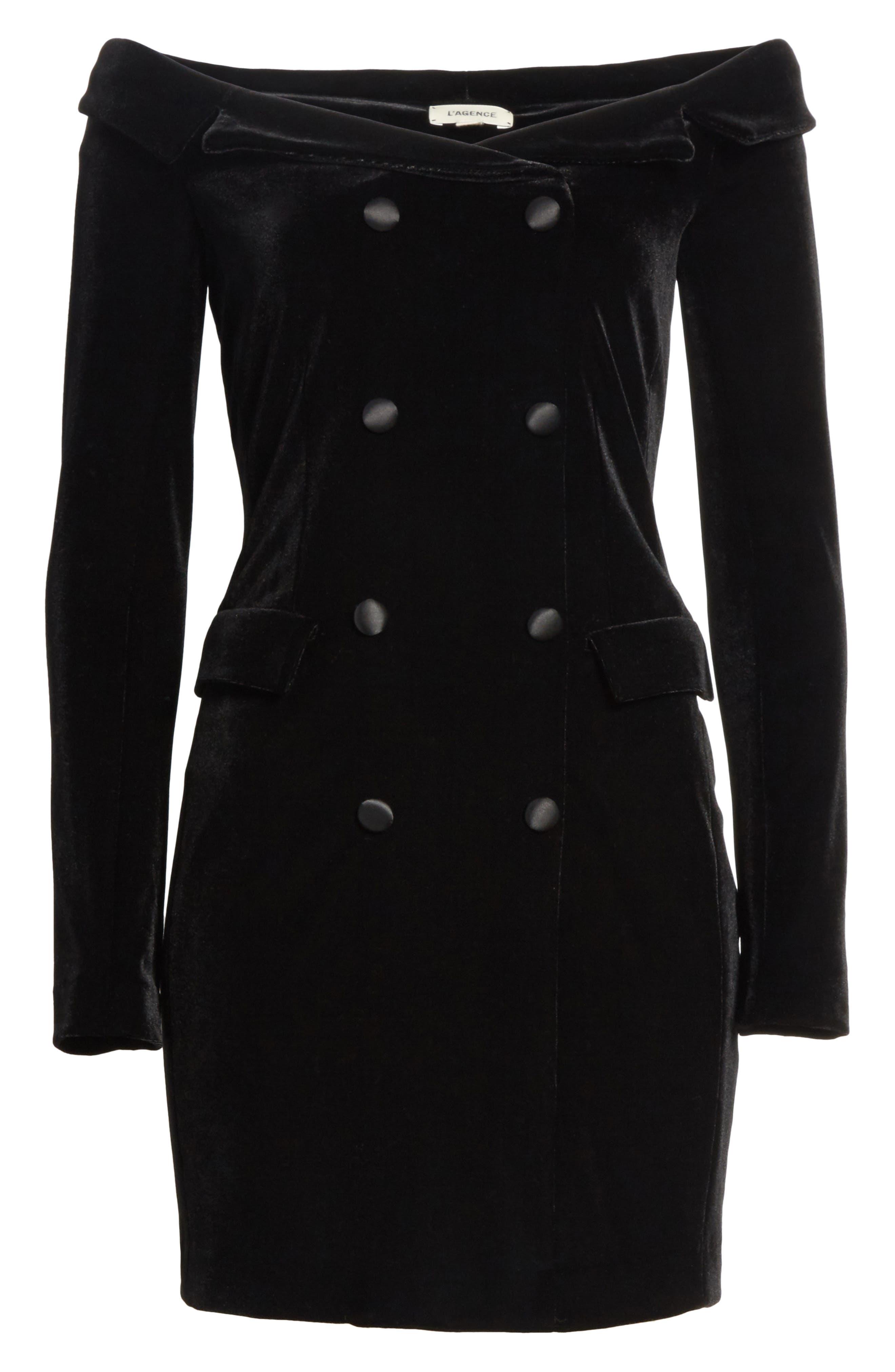 Velvet Jacket Dress,                             Alternate thumbnail 6, color,                             001