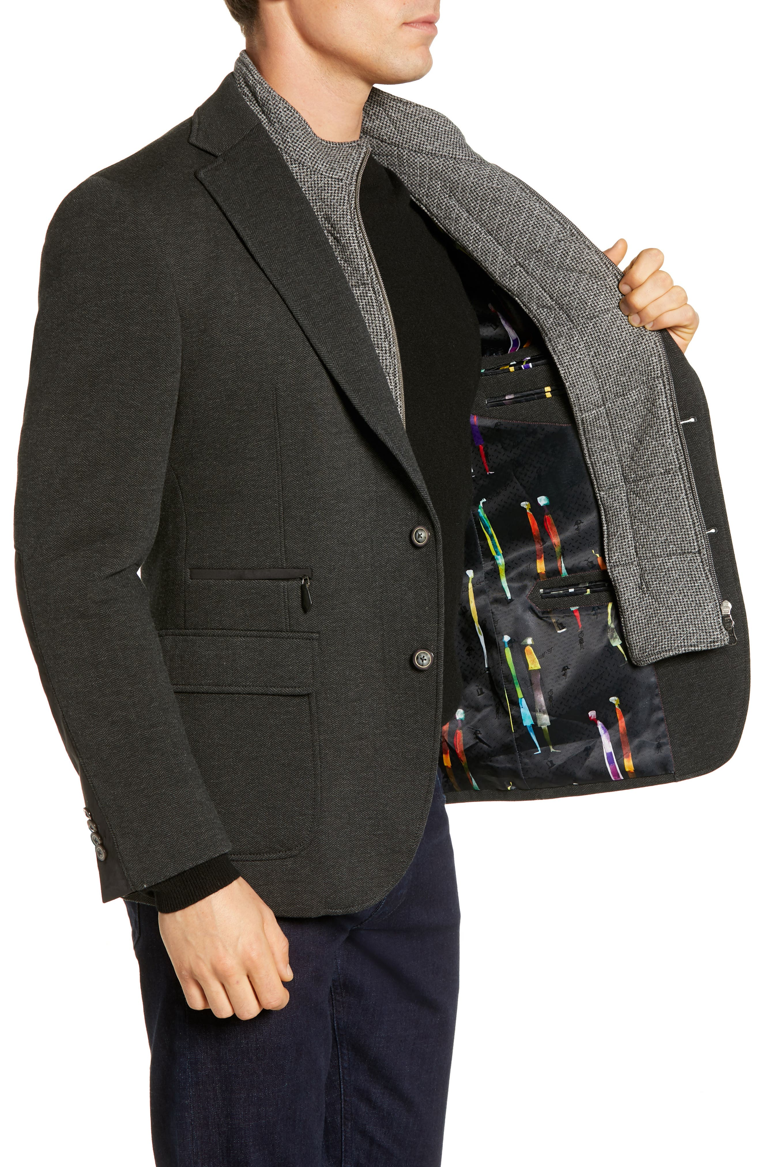 Downhill Tailored Fit Sport Coat,                             Alternate thumbnail 3, color,                             020