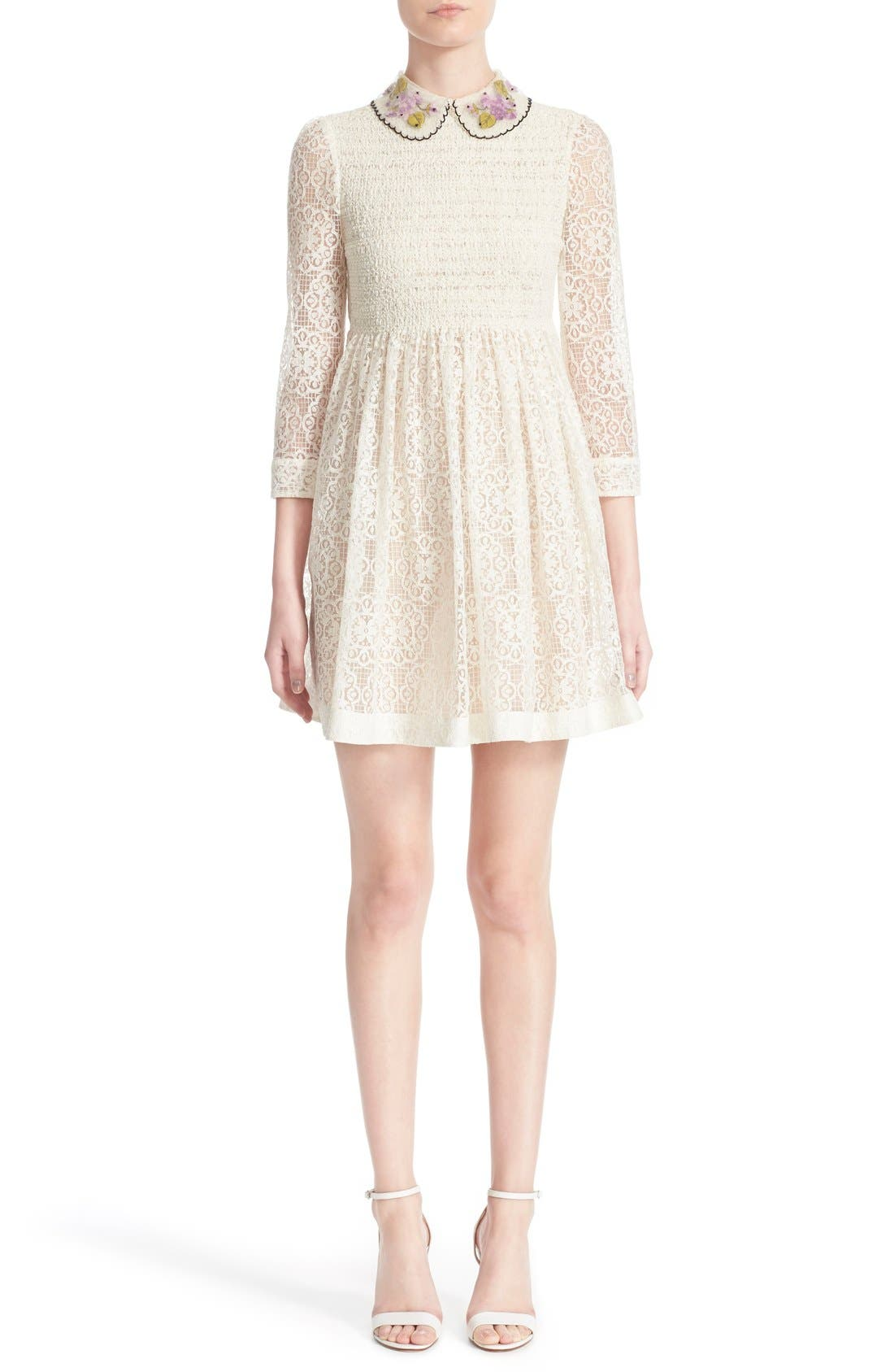 RED VALENTINO,                             Smocked Bodice Lace Dress,                             Main thumbnail 1, color,                             900