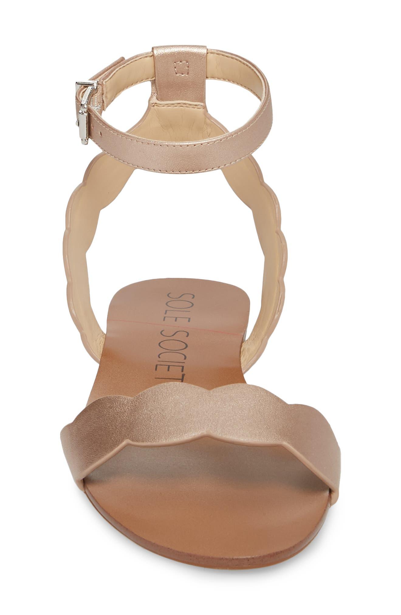 'Odette' Scalloped Ankle Strap Flat Sandal,                             Alternate thumbnail 22, color,