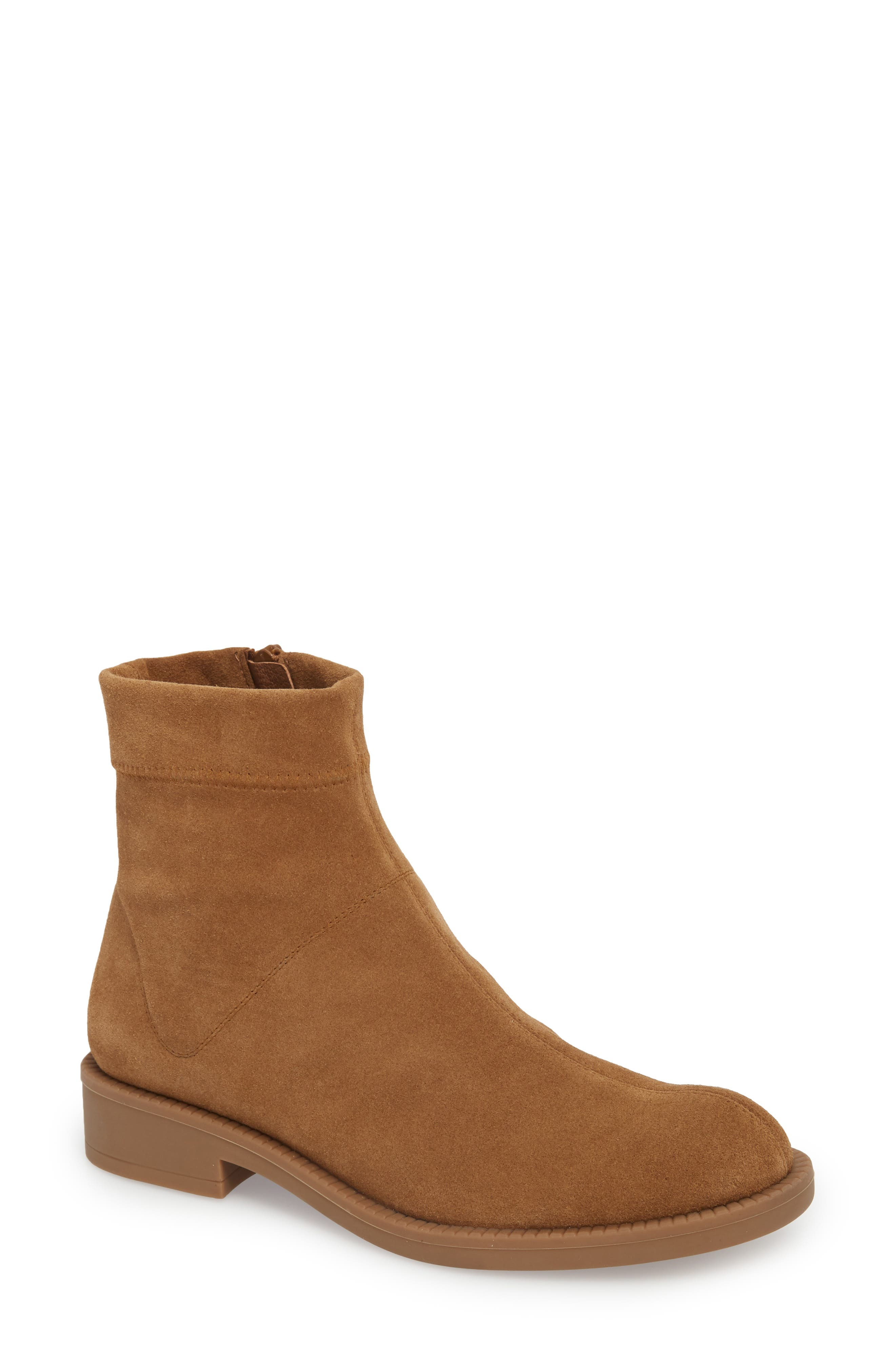 Kana Low Bootie,                             Main thumbnail 1, color,                             TOBACCO STRETCH  SUEDE