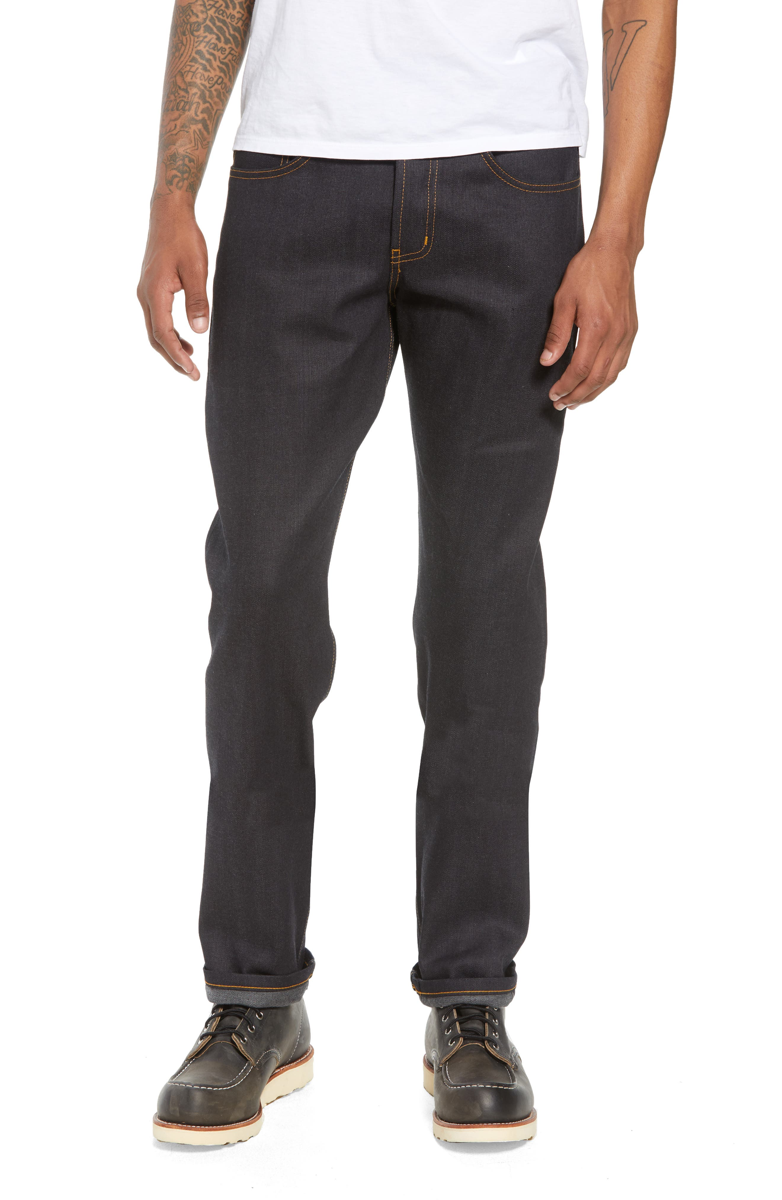 NAKED & FAMOUS DENIM,                             Weird Guy Slim Fit Jeans,                             Main thumbnail 1, color,                             DEEP INDIGO STRETCH SELVEDGE
