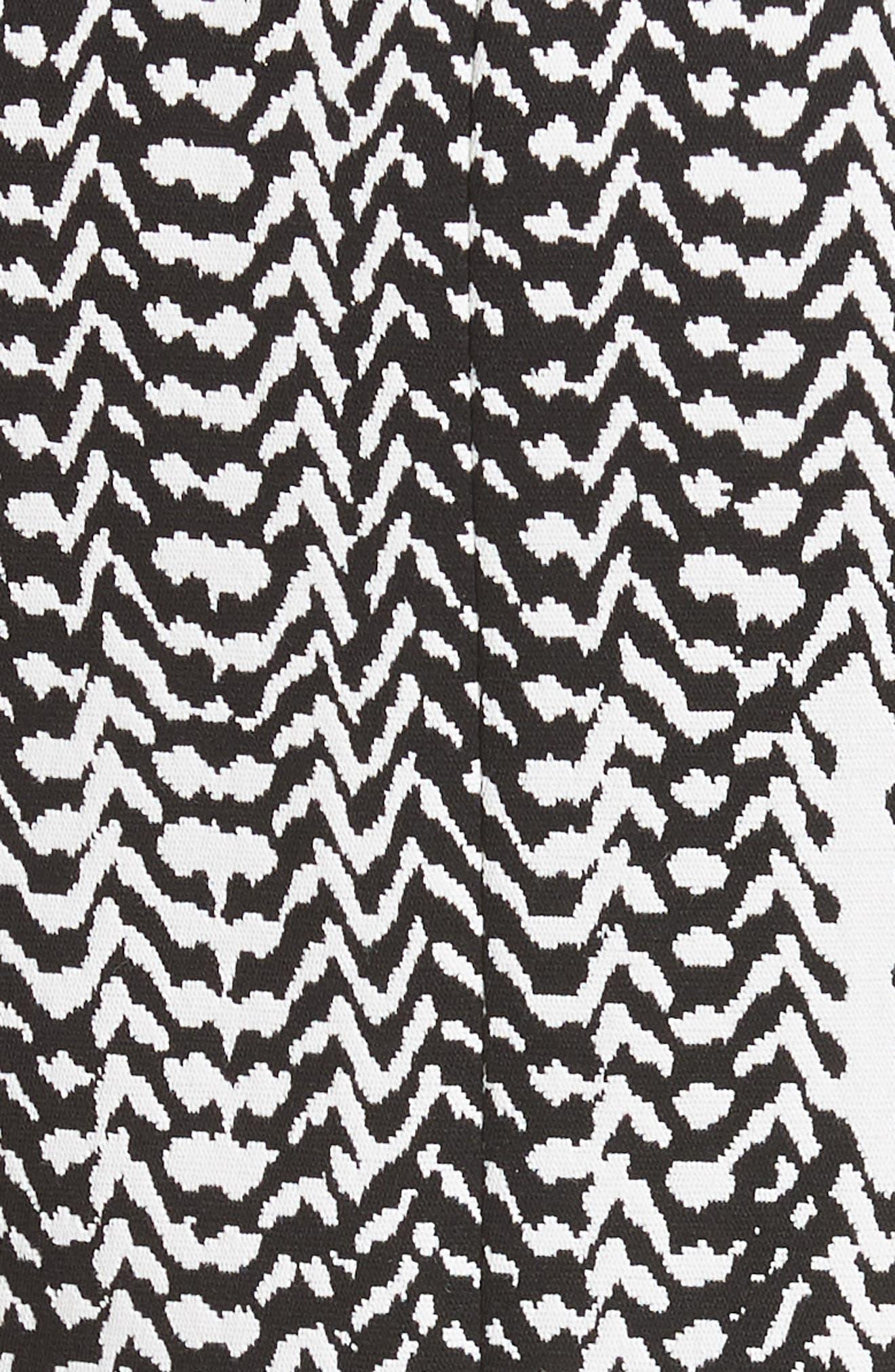 Herringbone Jacquard Sheath Dress,                             Alternate thumbnail 5, color,                             BLACK/ CHALK