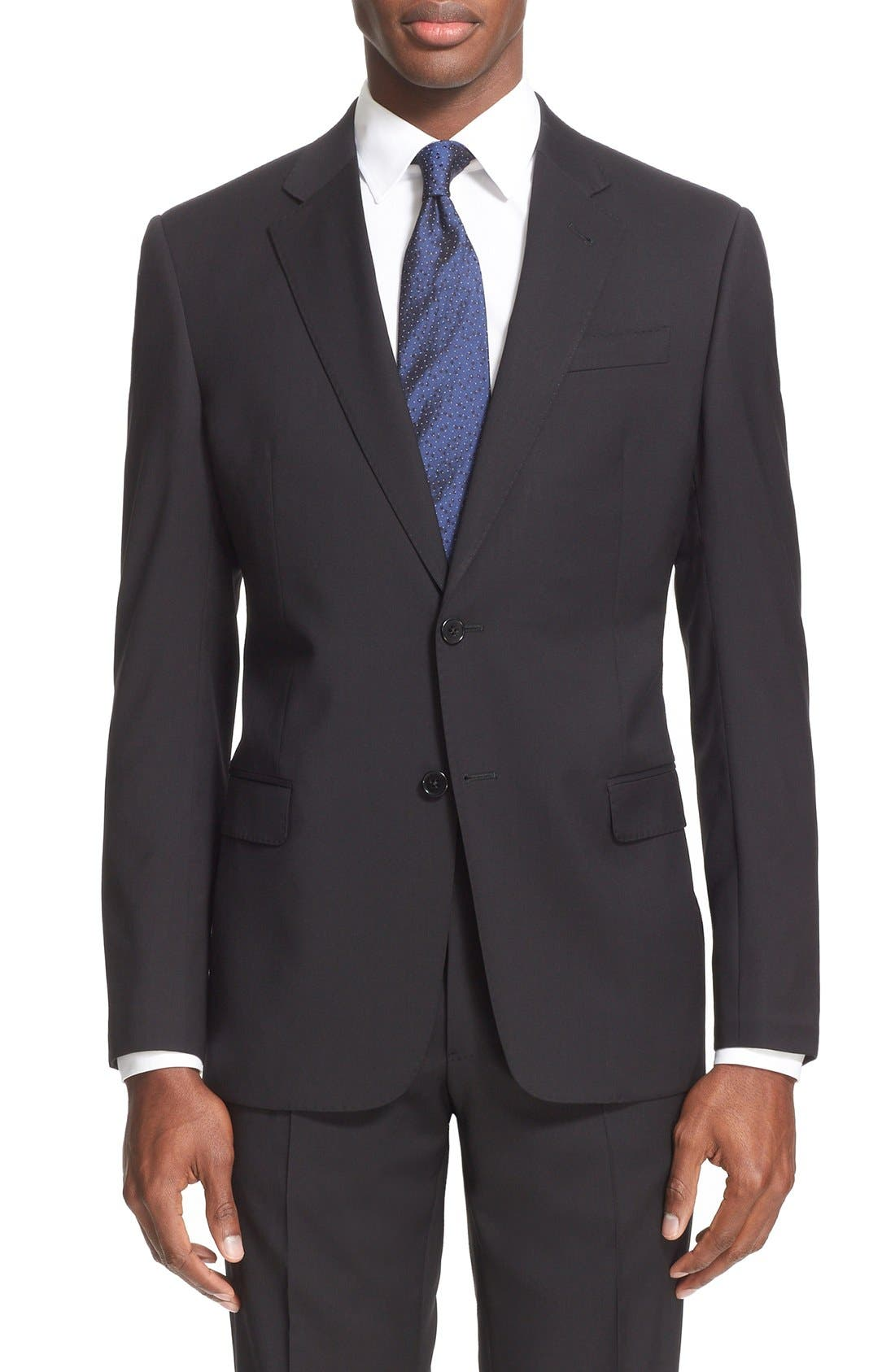 G-Line Trim Fit Solid Wool Suit,                             Alternate thumbnail 4, color,                             001