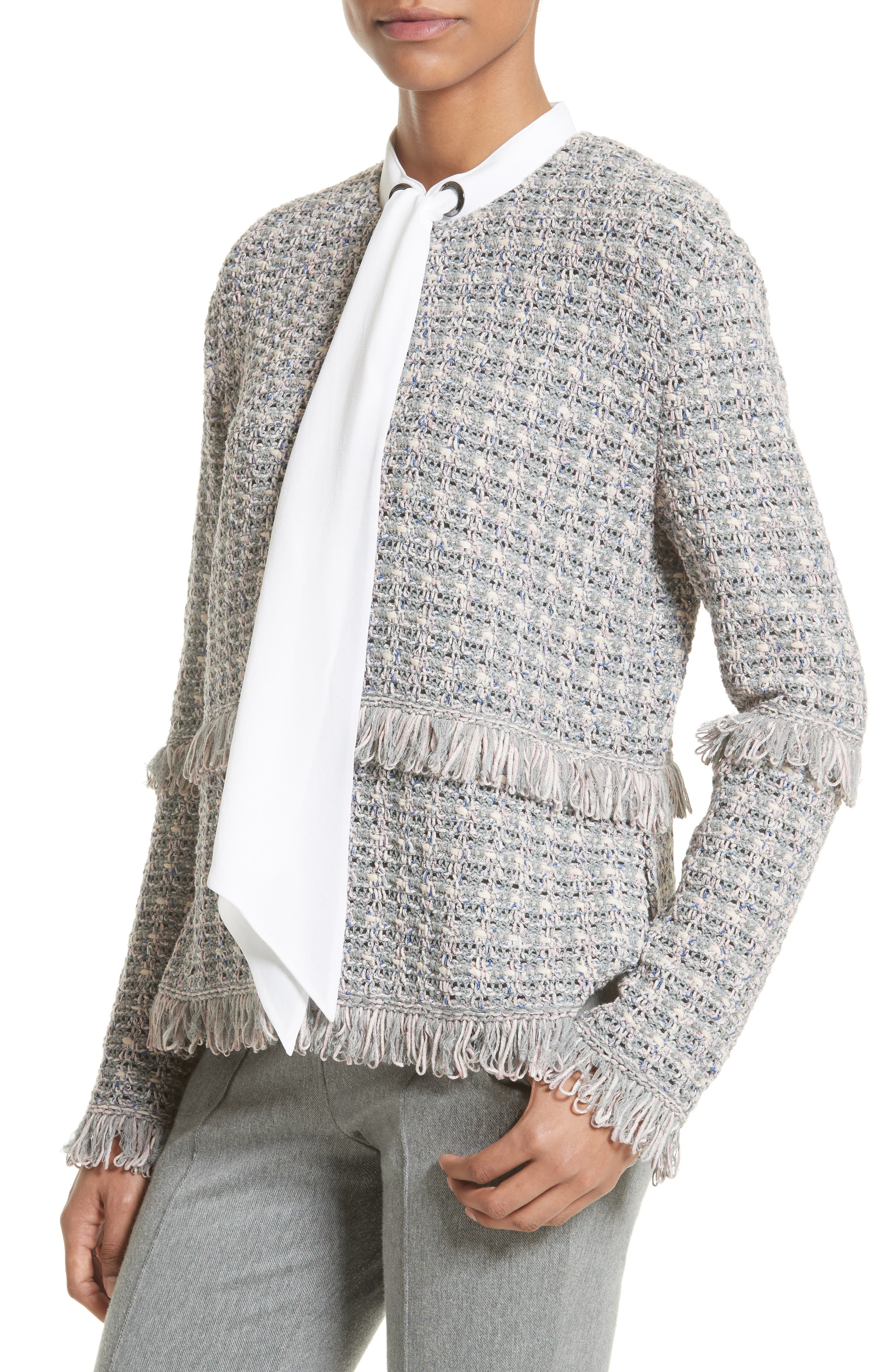 Textural Powder Tweed Jacket,                             Alternate thumbnail 2, color,                             020