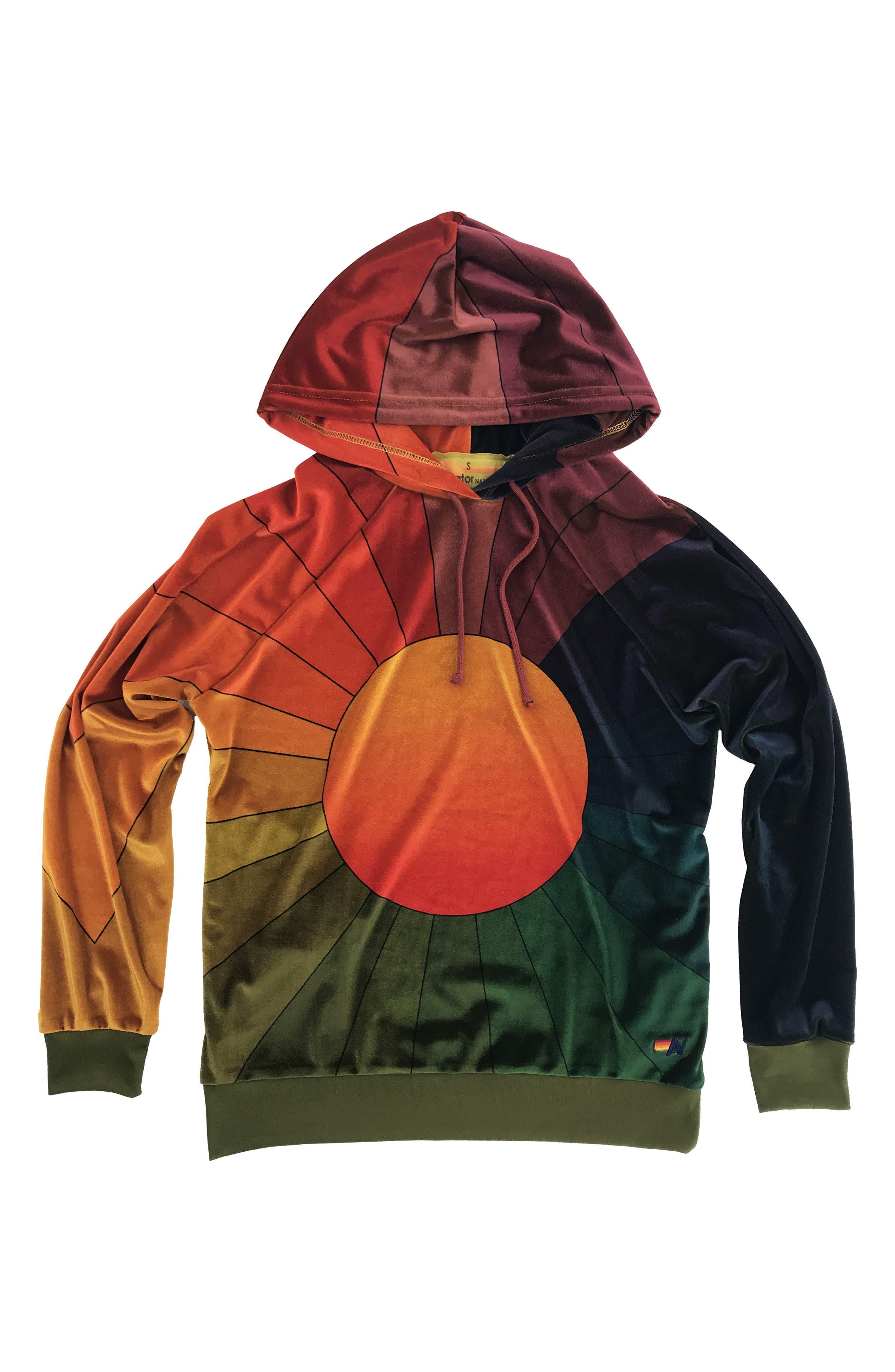 AVIATOR NATION Rainbow Sunburst Velour Hoodie