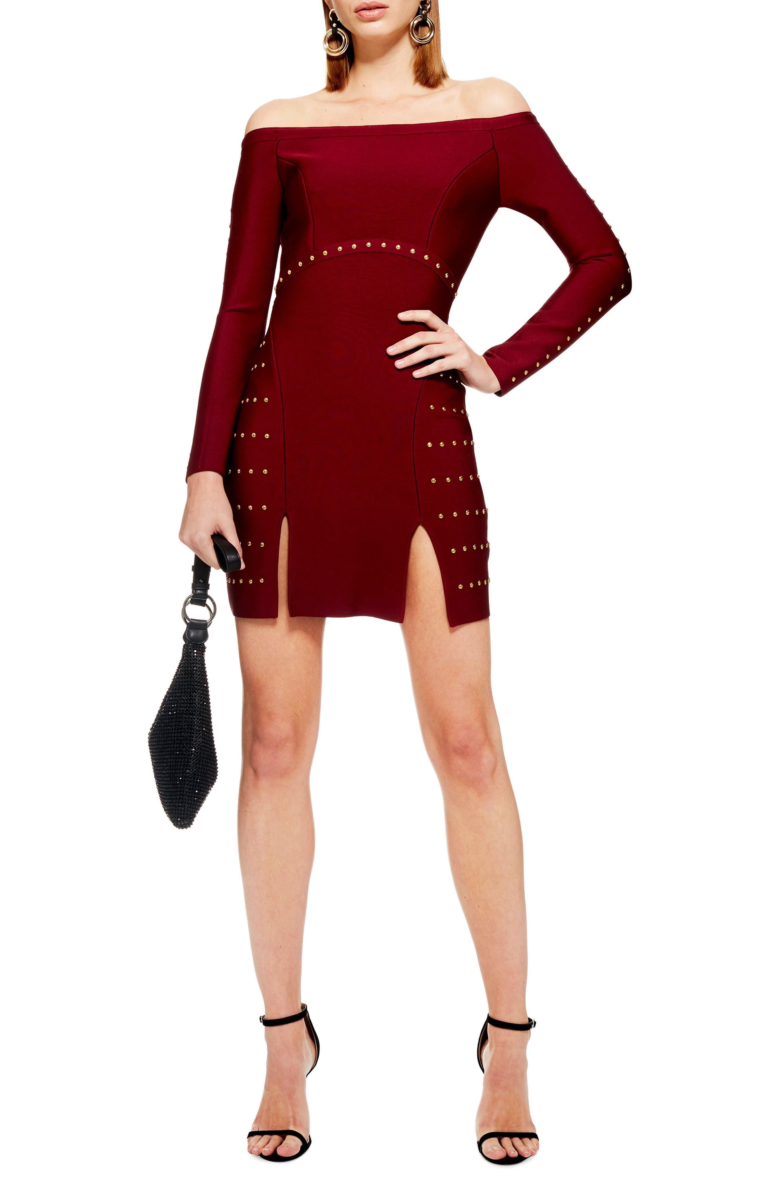 Studded Off the Shoulder Dress,                         Main,                         color, RED