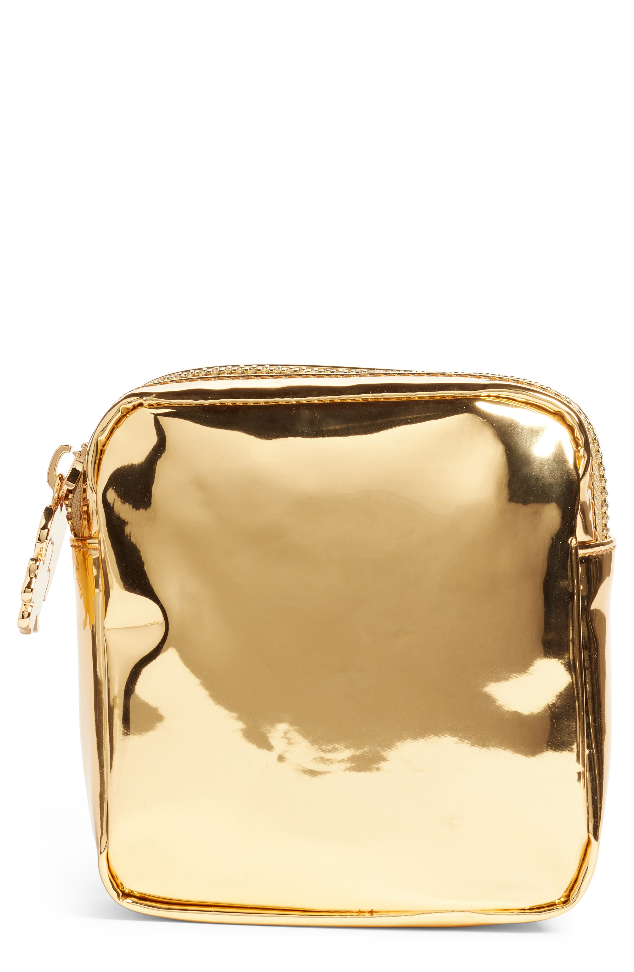 STONEY CLOVER LANE Patent Mini Makeup Pouch in Gold