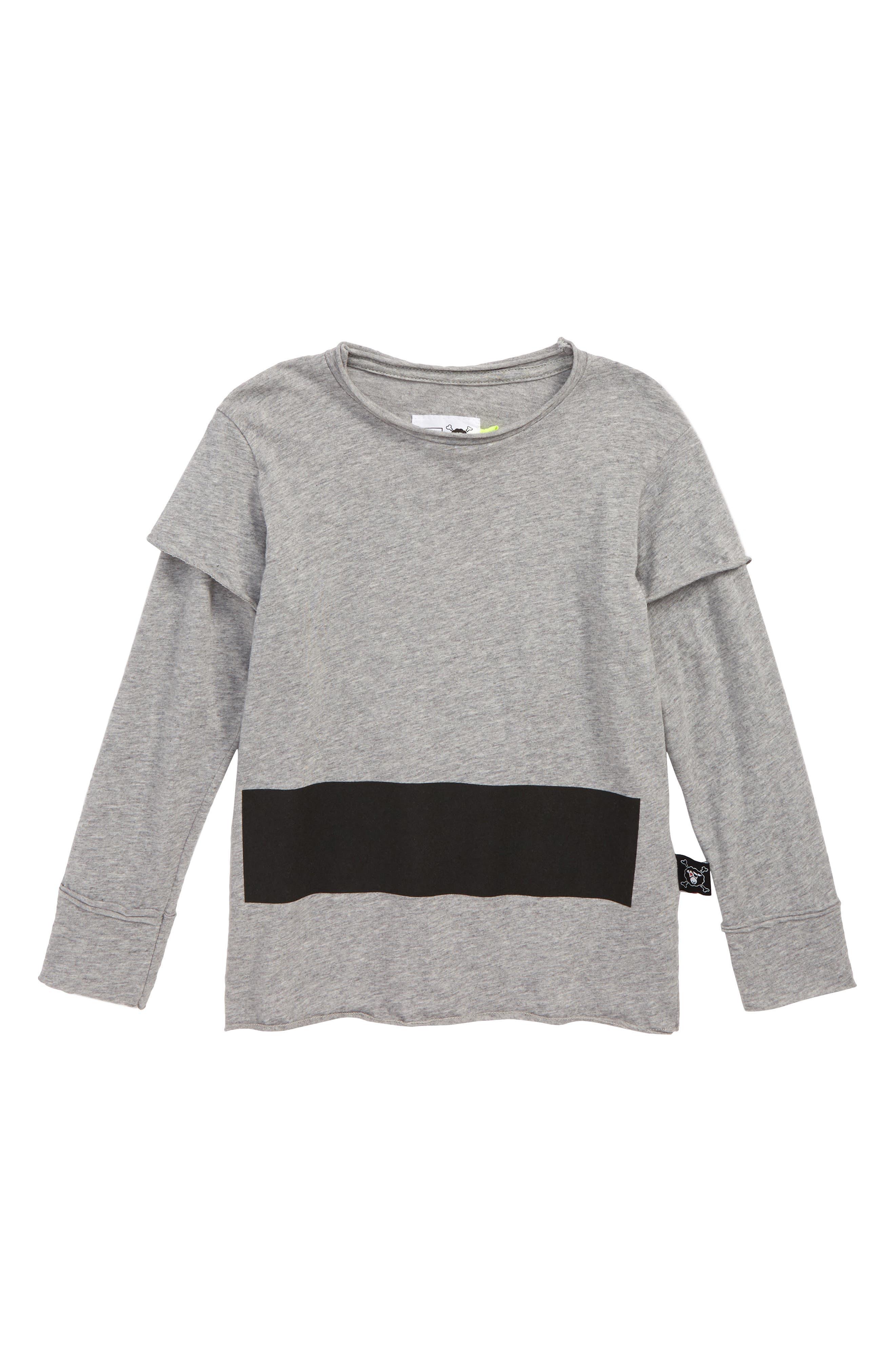 Stripe Layered T-Shirt,                             Main thumbnail 1, color,                             HEATHER GREY
