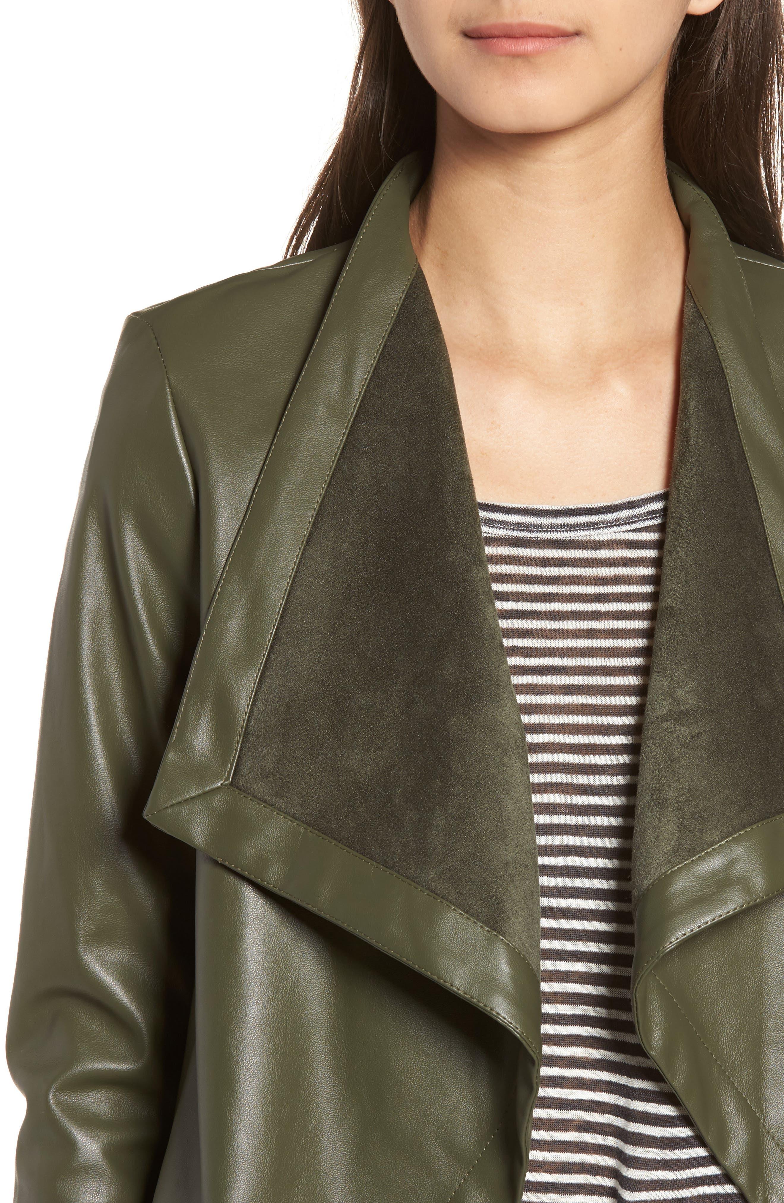 'Peppin' Drape Front Faux Leather Jacket,                             Alternate thumbnail 34, color,