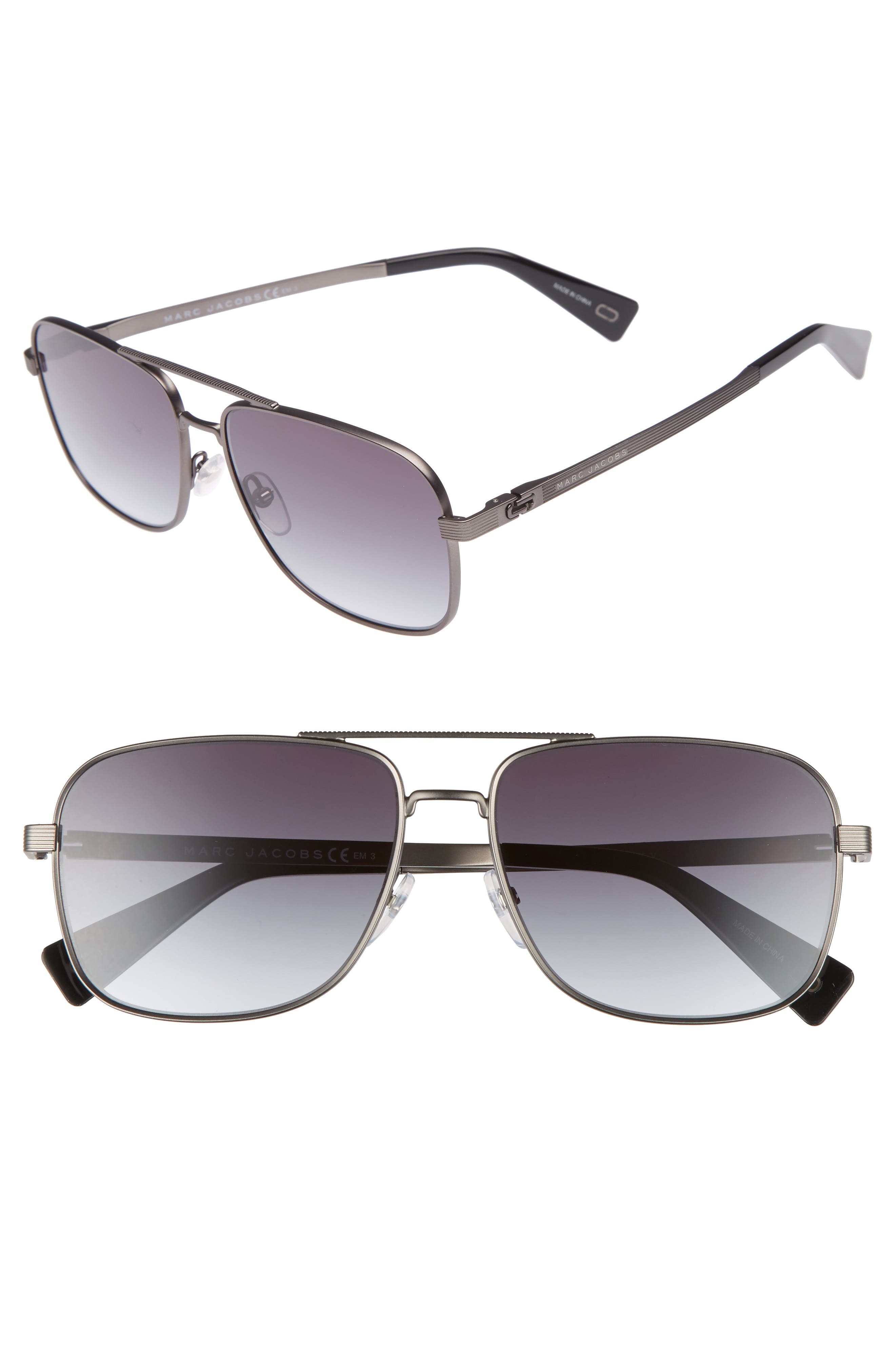 59mm Gradient Navigator Sunglasses, Main, color, SEMI MATTE DARK RUTHENIUM