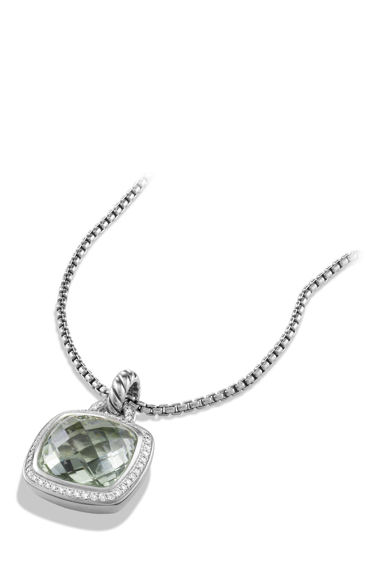 'Albion' Pendant with Semiprecious Stone and Diamonds,                             Alternate thumbnail 3, color,                             PRASIOLITE