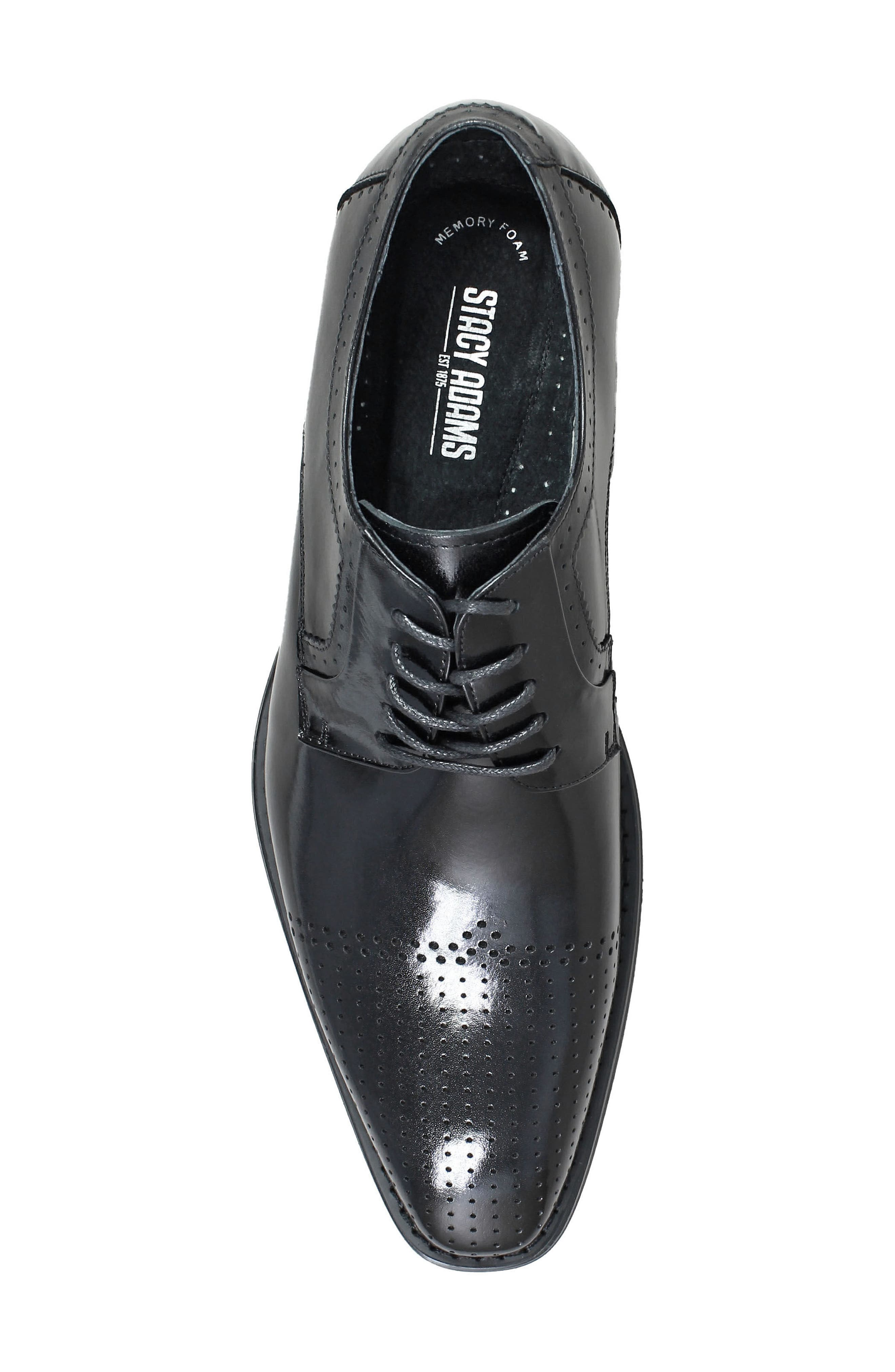 Sanborn Perforated Cap Toe Derby,                             Alternate thumbnail 5, color,                             BLACK LEATHER