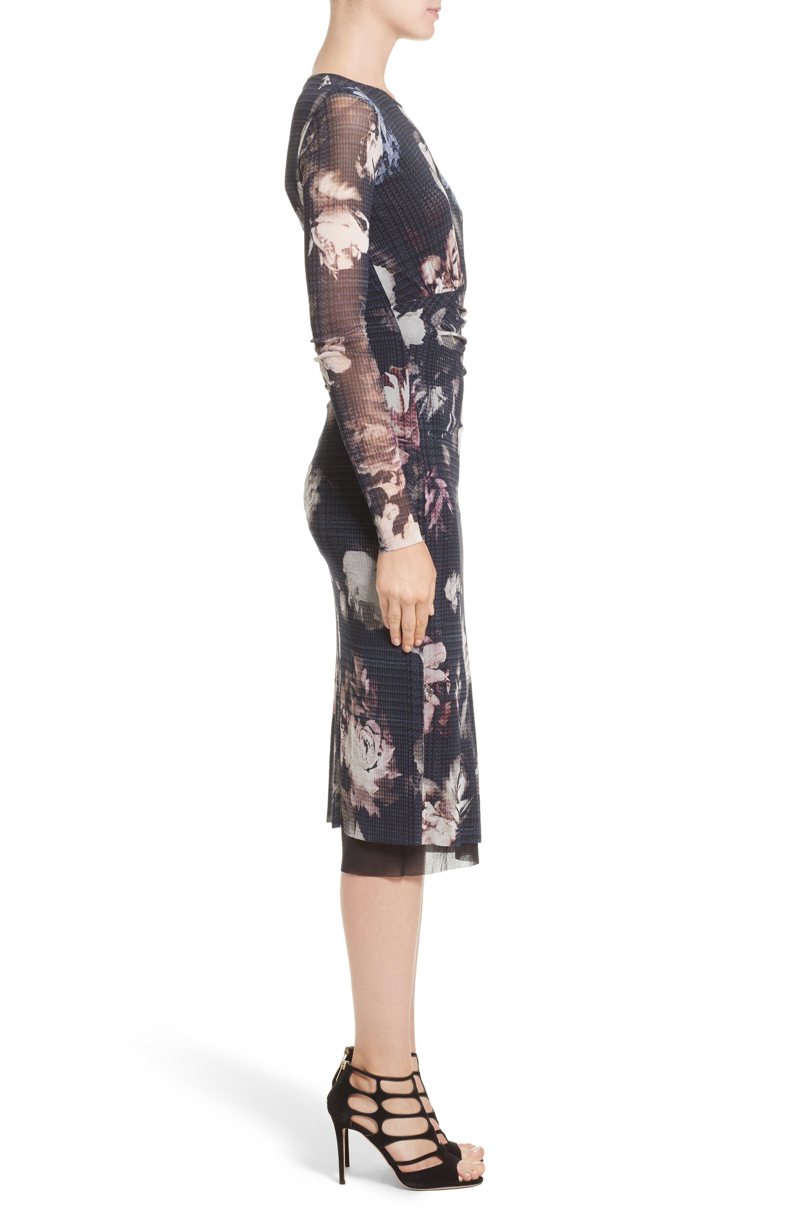 Floral Print Tulle Keyhole Dress,                             Alternate thumbnail 3, color,                             001