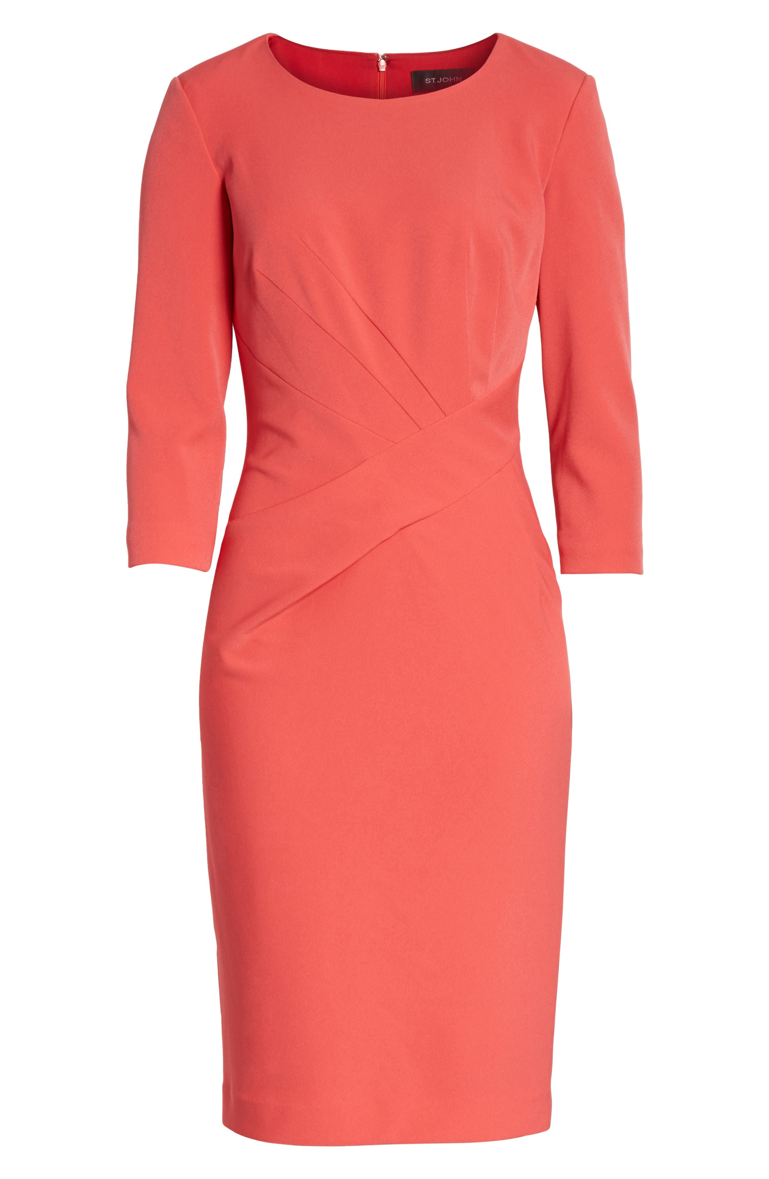 Stretch Crepe Dress,                             Alternate thumbnail 6, color,                             660