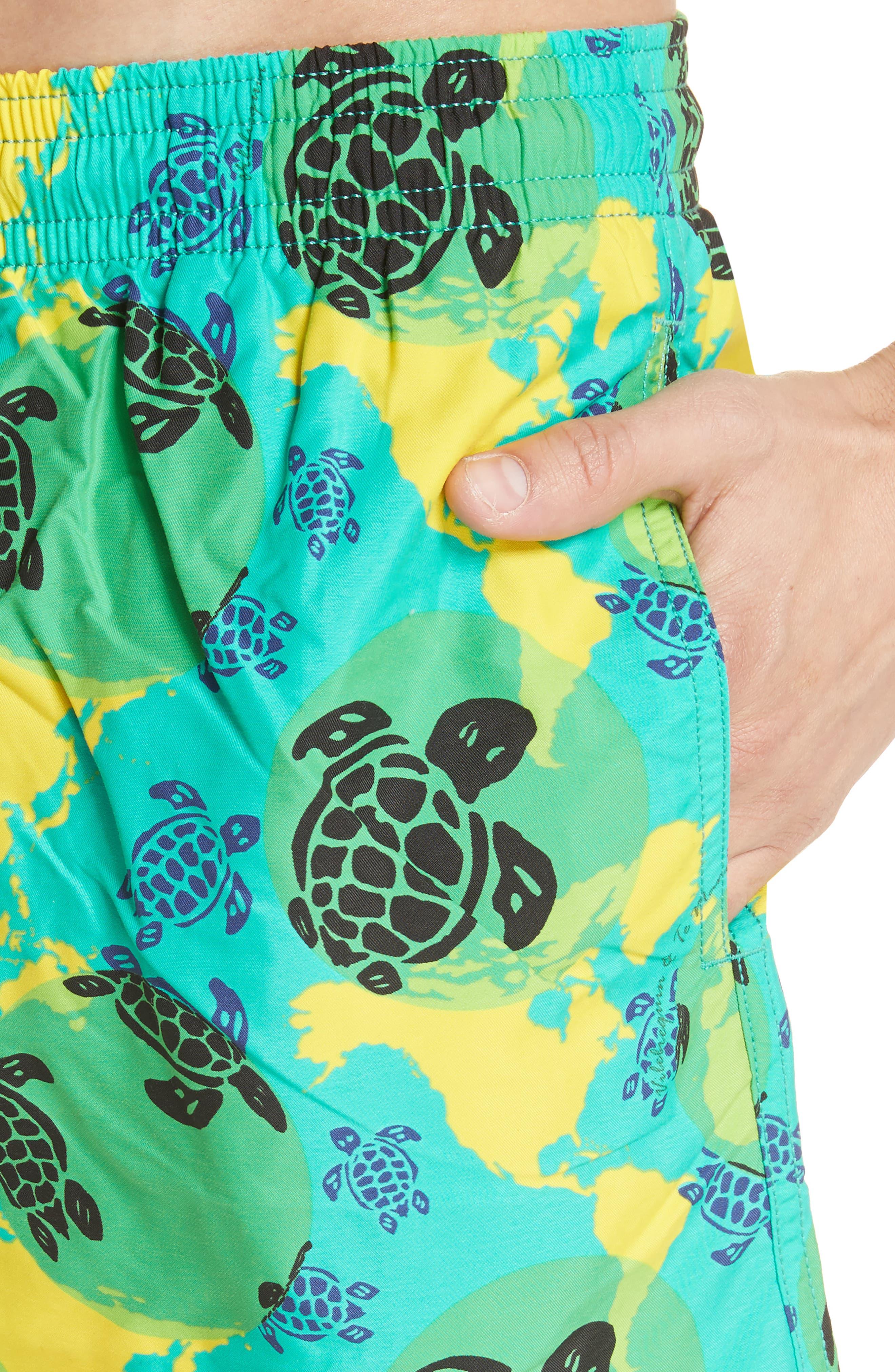 Eco Turtle Print Swim Trunks,                             Alternate thumbnail 4, color,                             VERONESE GREEN