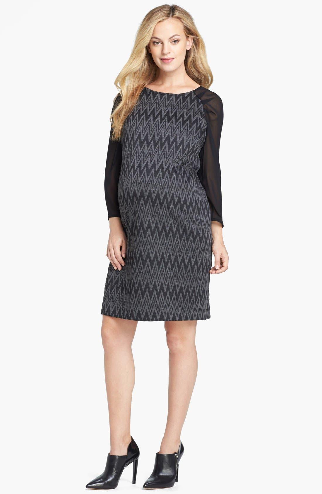 Chiffon Sleeve Maternity Dress,                         Main,                         color, BLACK/ GREY ZIG ZAG