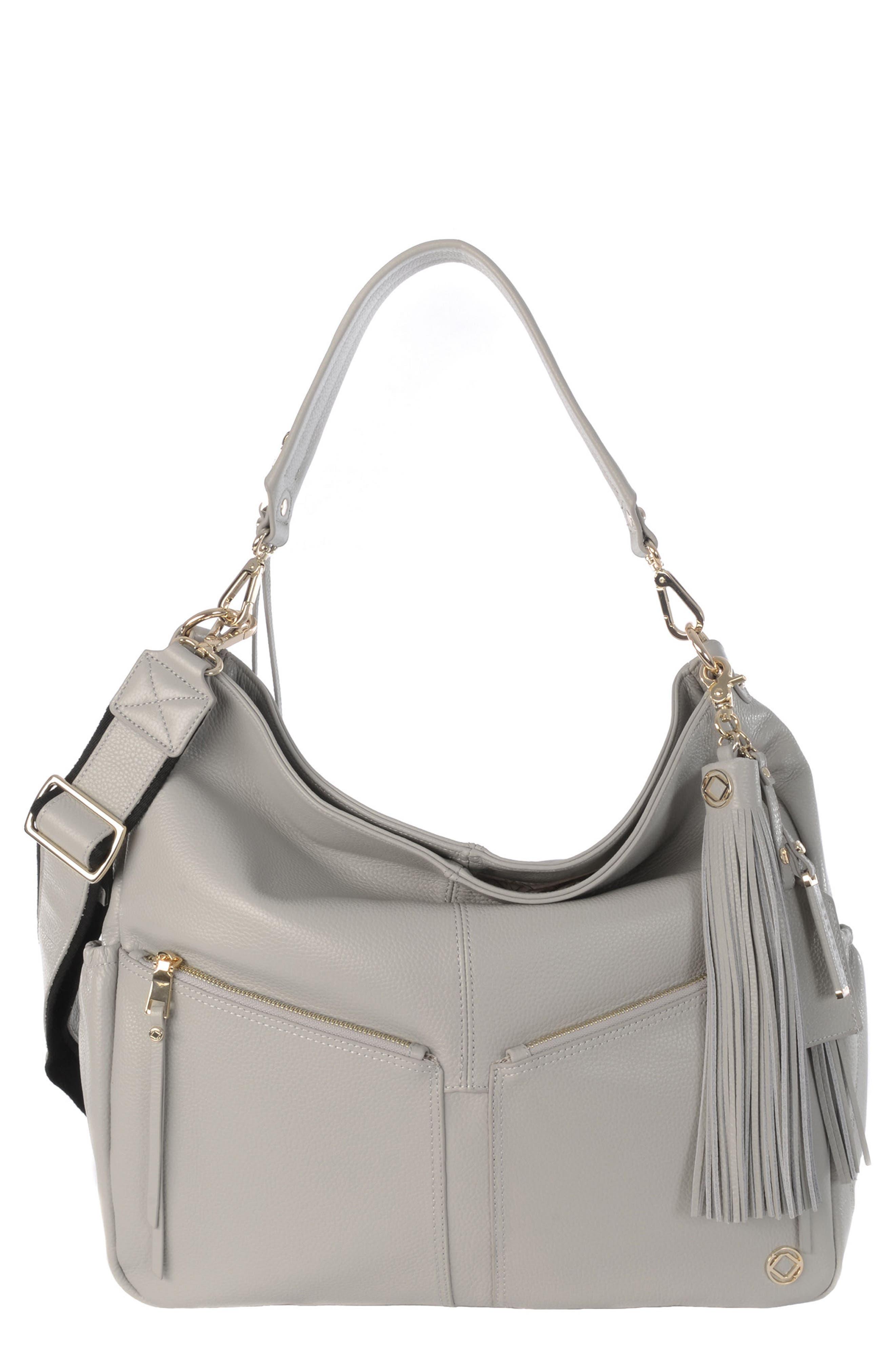 Lennox Leather Diaper Bag,                         Main,                         color, ICE GREY