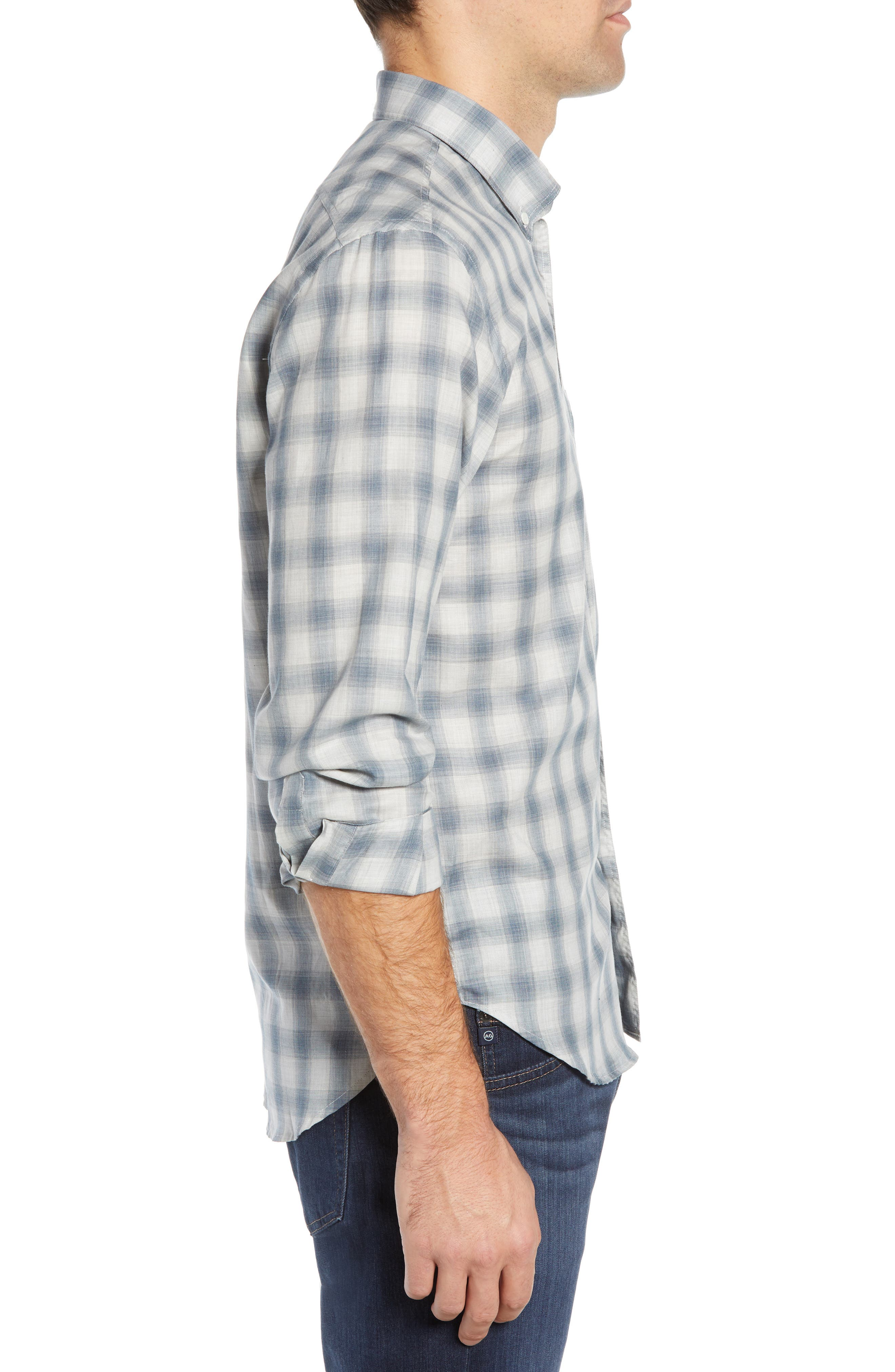Tuscumbia Regular Fit Pattern Sport Shirt,                             Alternate thumbnail 4, color,                             BLUE/ GREY