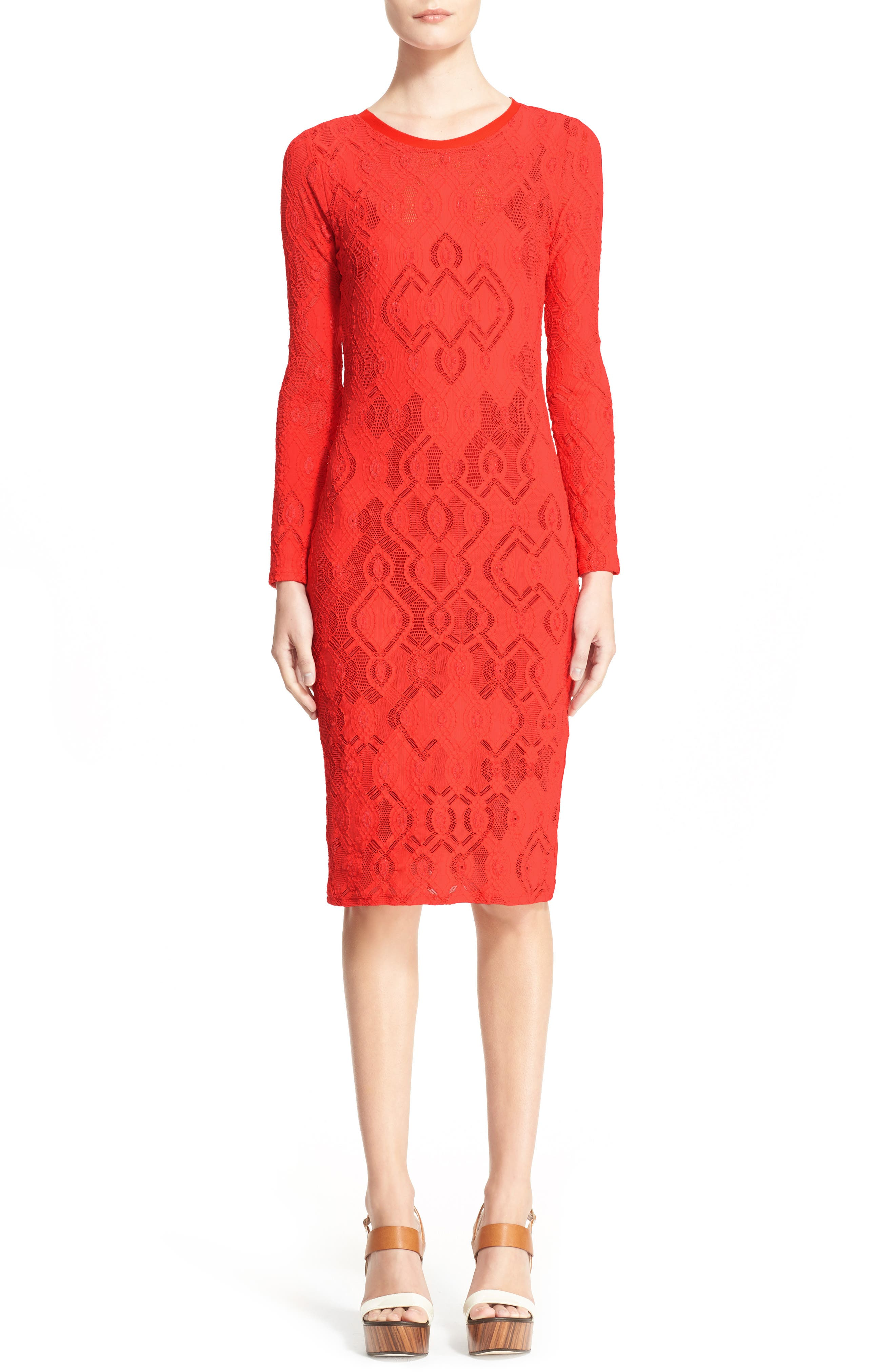 Long Sleeve Geo Lace Sheath Dress,                             Alternate thumbnail 2, color,                             600