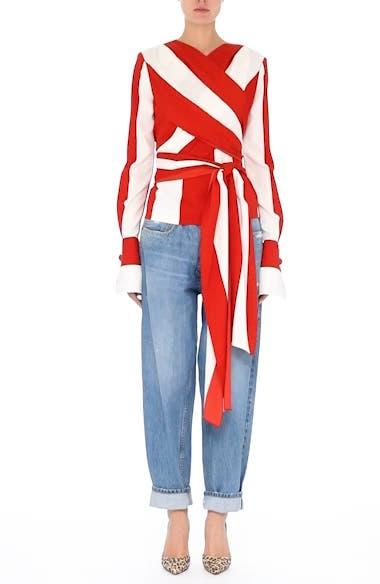 Stripe Stretch Silk Wrap Blouse, video thumbnail