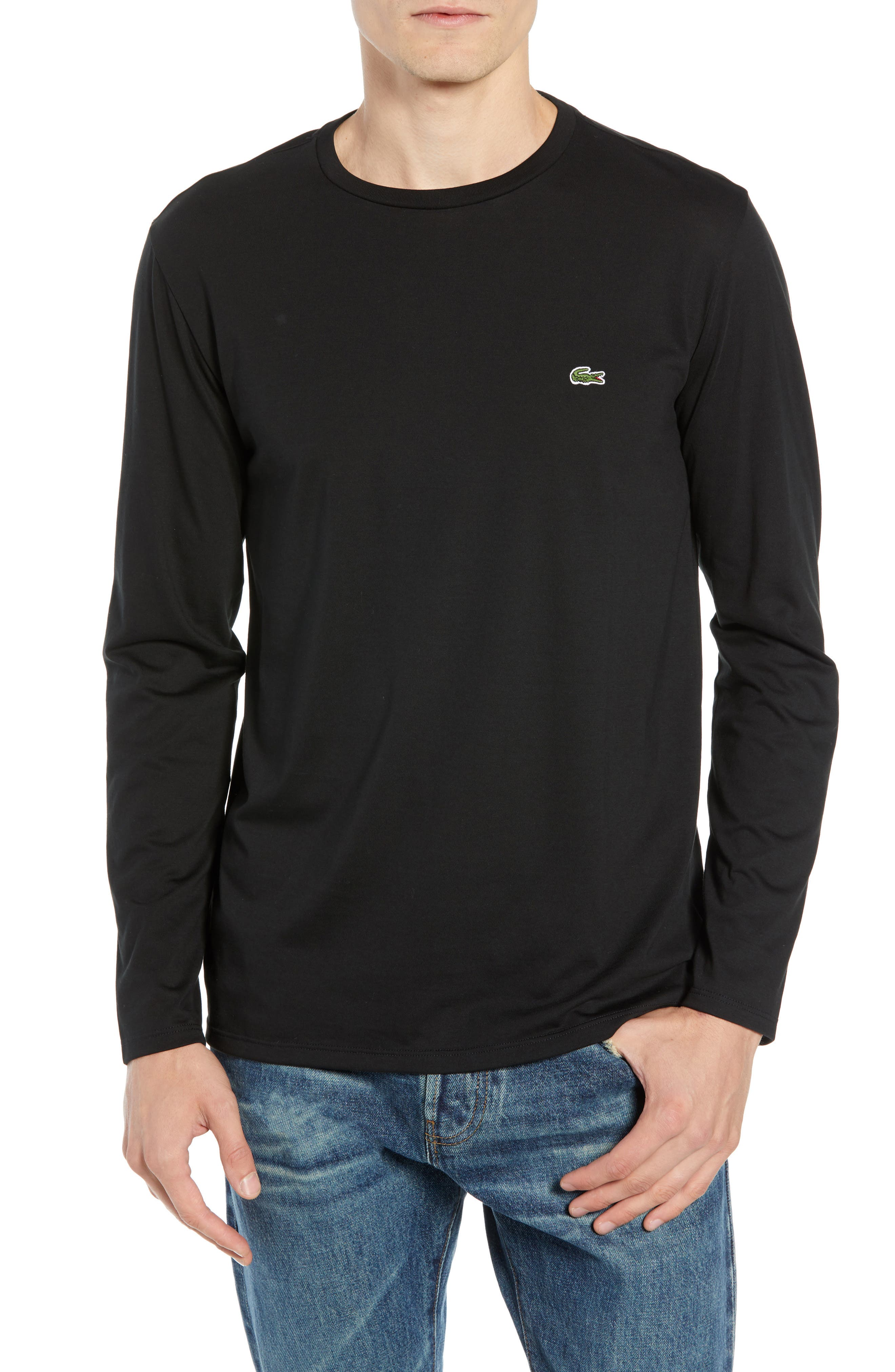 Long Sleeve Pima Cotton T-Shirt,                         Main,                         color, BLACK