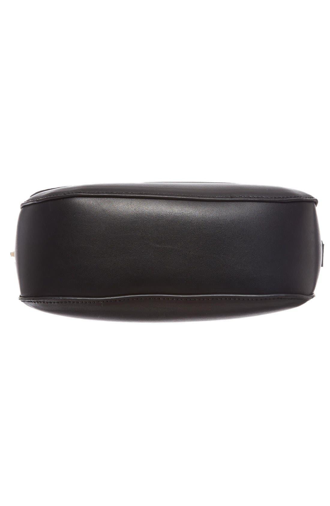 Minimal Faux Leather Crossbody Bag,                             Alternate thumbnail 6, color,                             001