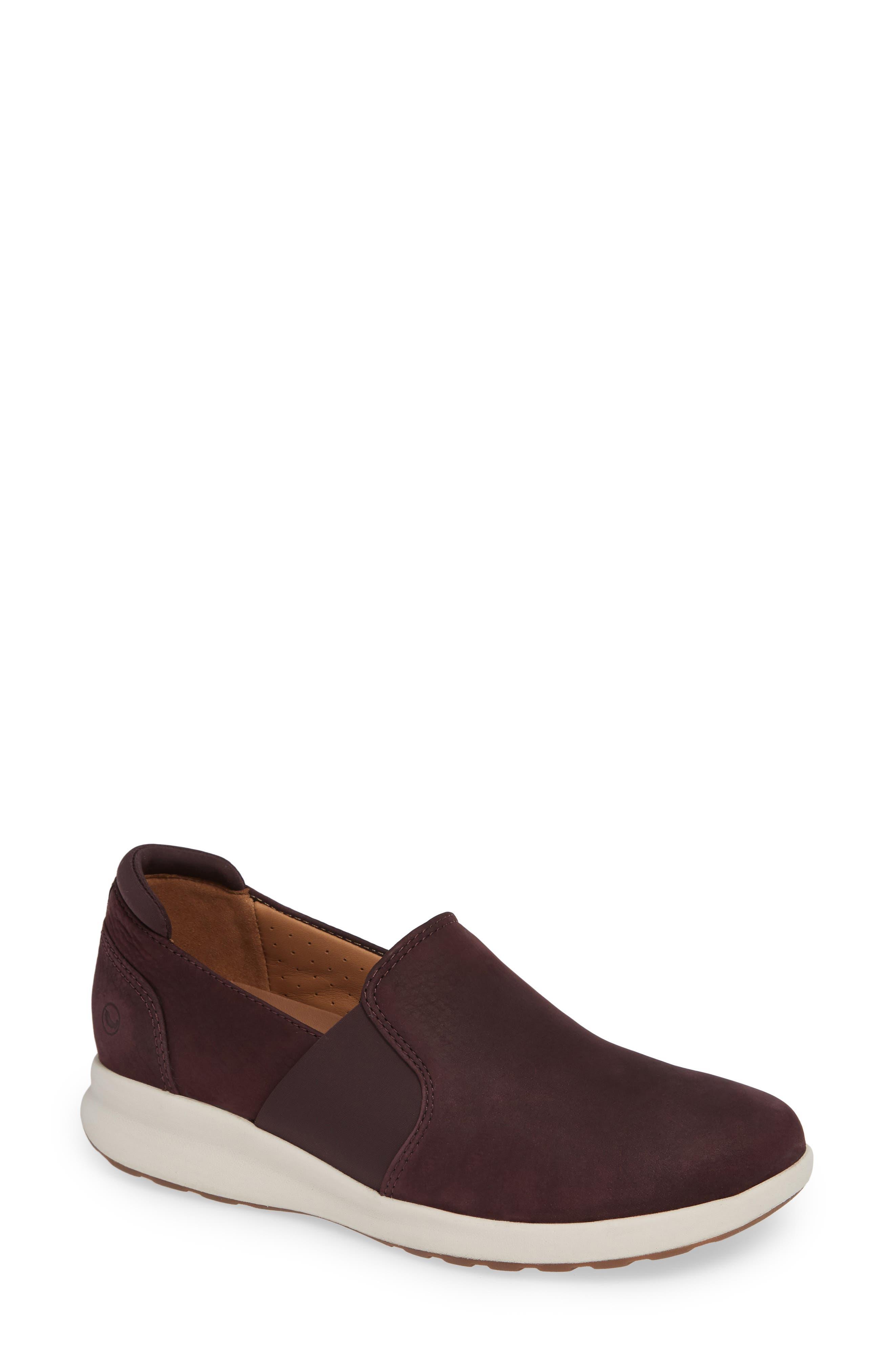 Un Adorn Step Sneaker,                         Main,                         color, BURGUNDY NUBUCK