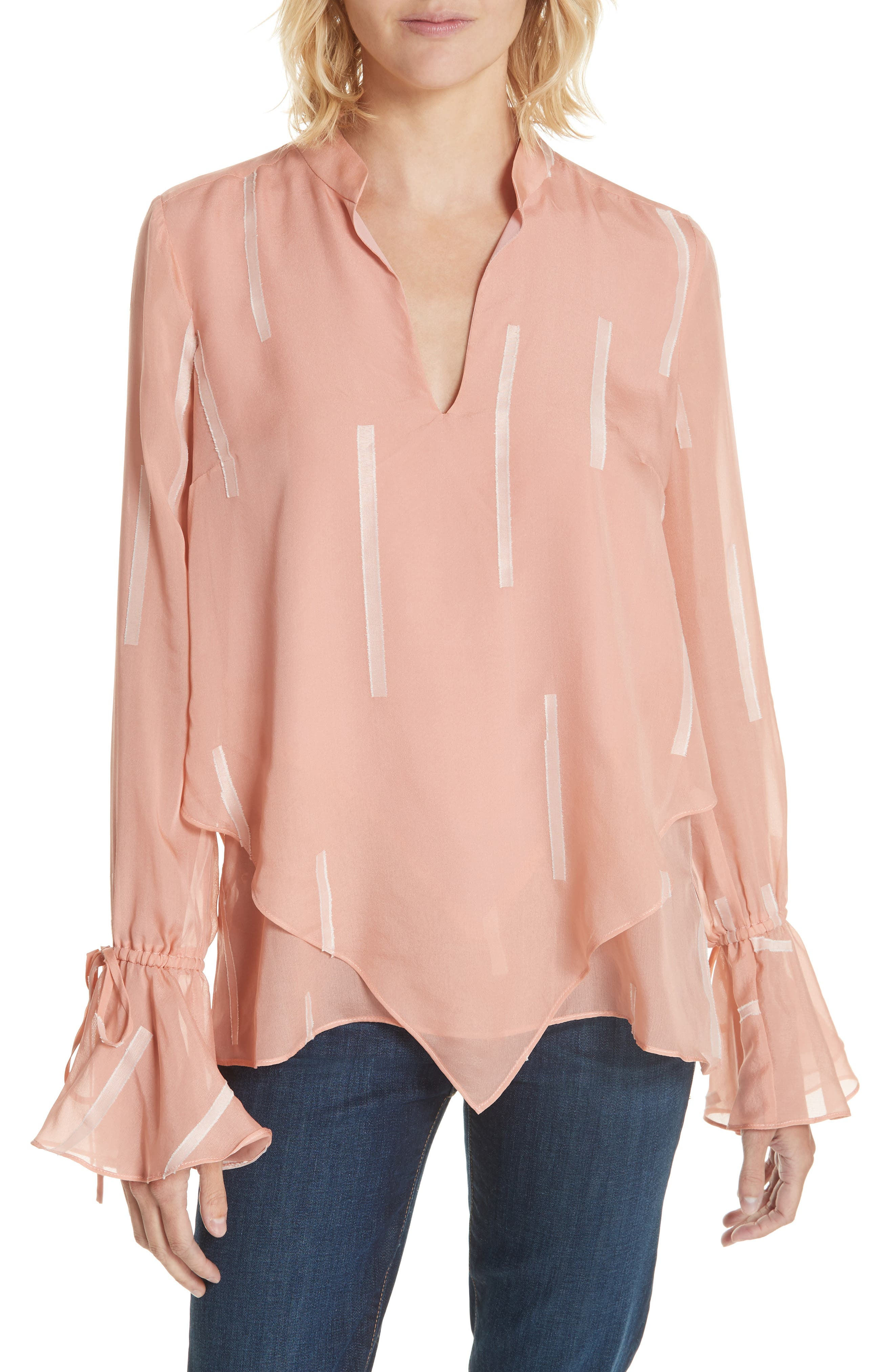Clipped Stripe Handkerchief Silk Blend Blouse,                             Main thumbnail 1, color,                             DUSTY ROSE