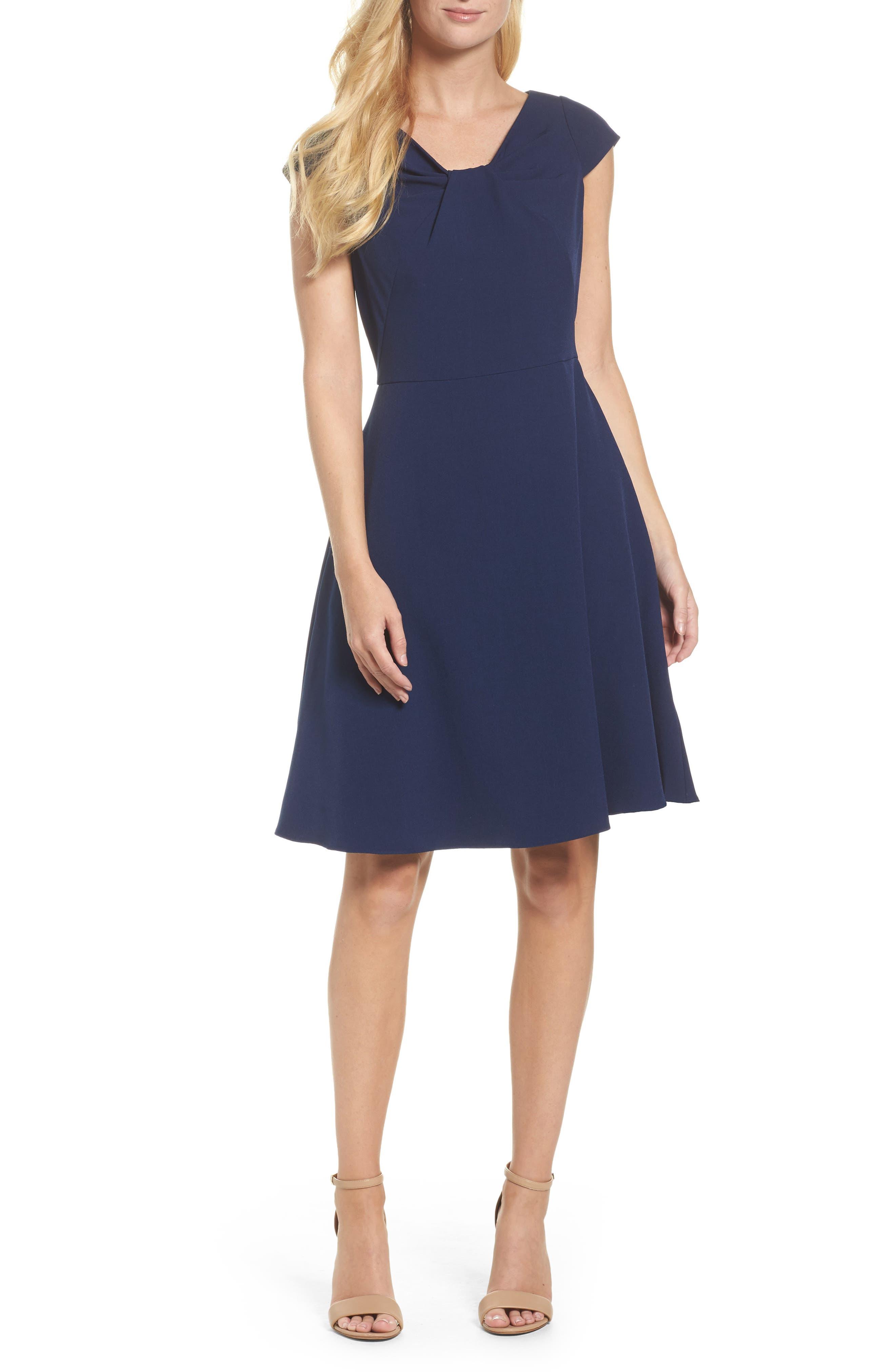 Drape Neck Fit & Flare Dress,                             Main thumbnail 1, color,                             412